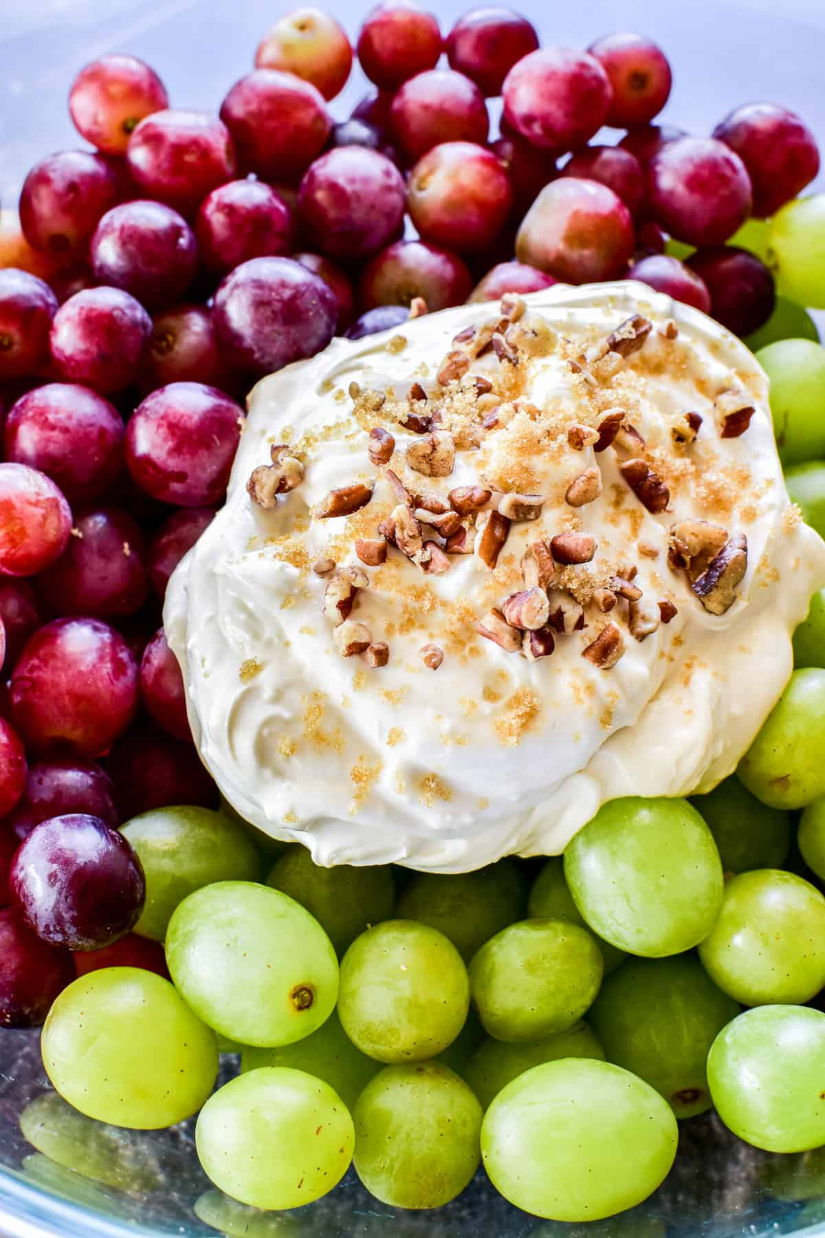 Close up of Grape Salad ingredients in mixing bowl
