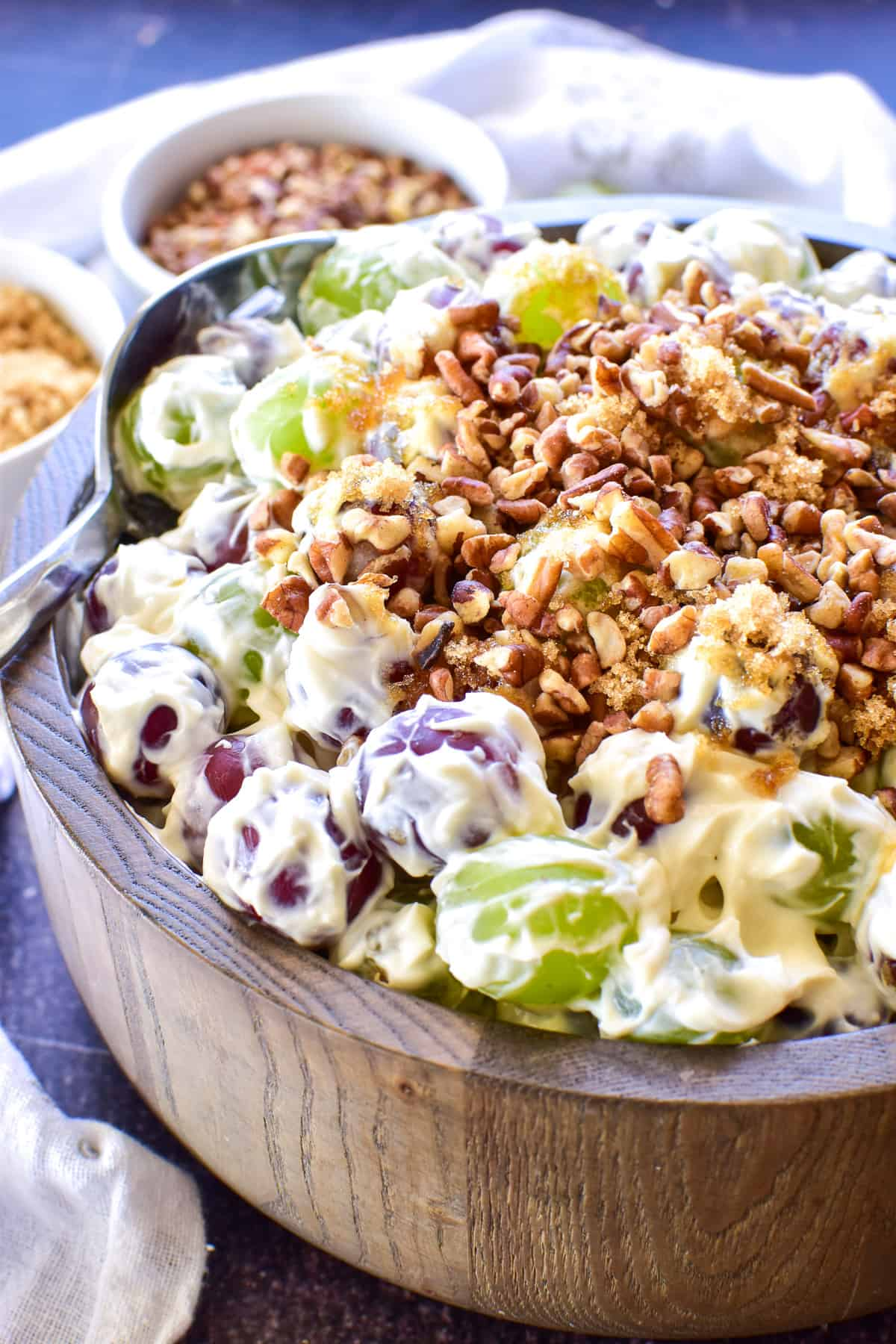 Close up of Grape Salad with brown sugar and pecans