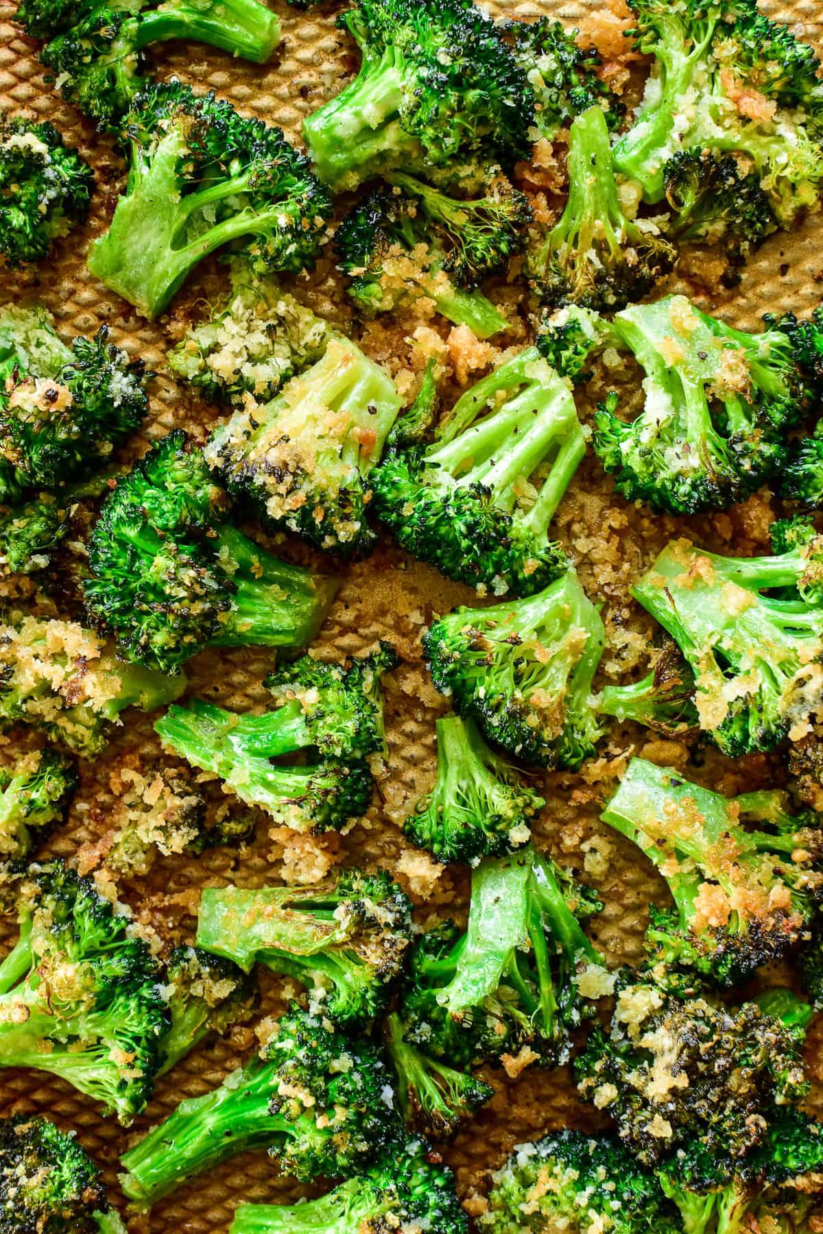 Parmesan Roasted Broccoli on a baking sheet
