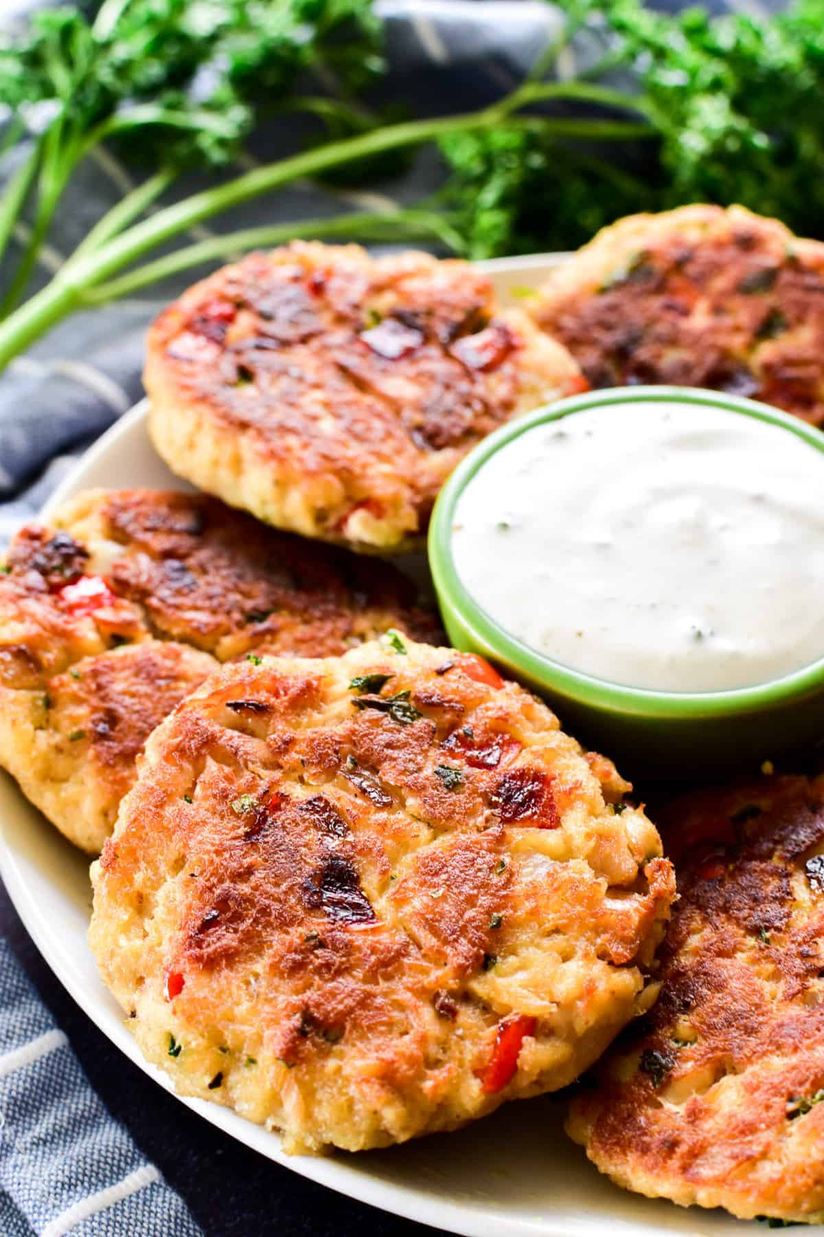 Close up of Salmon Patties on serving plate