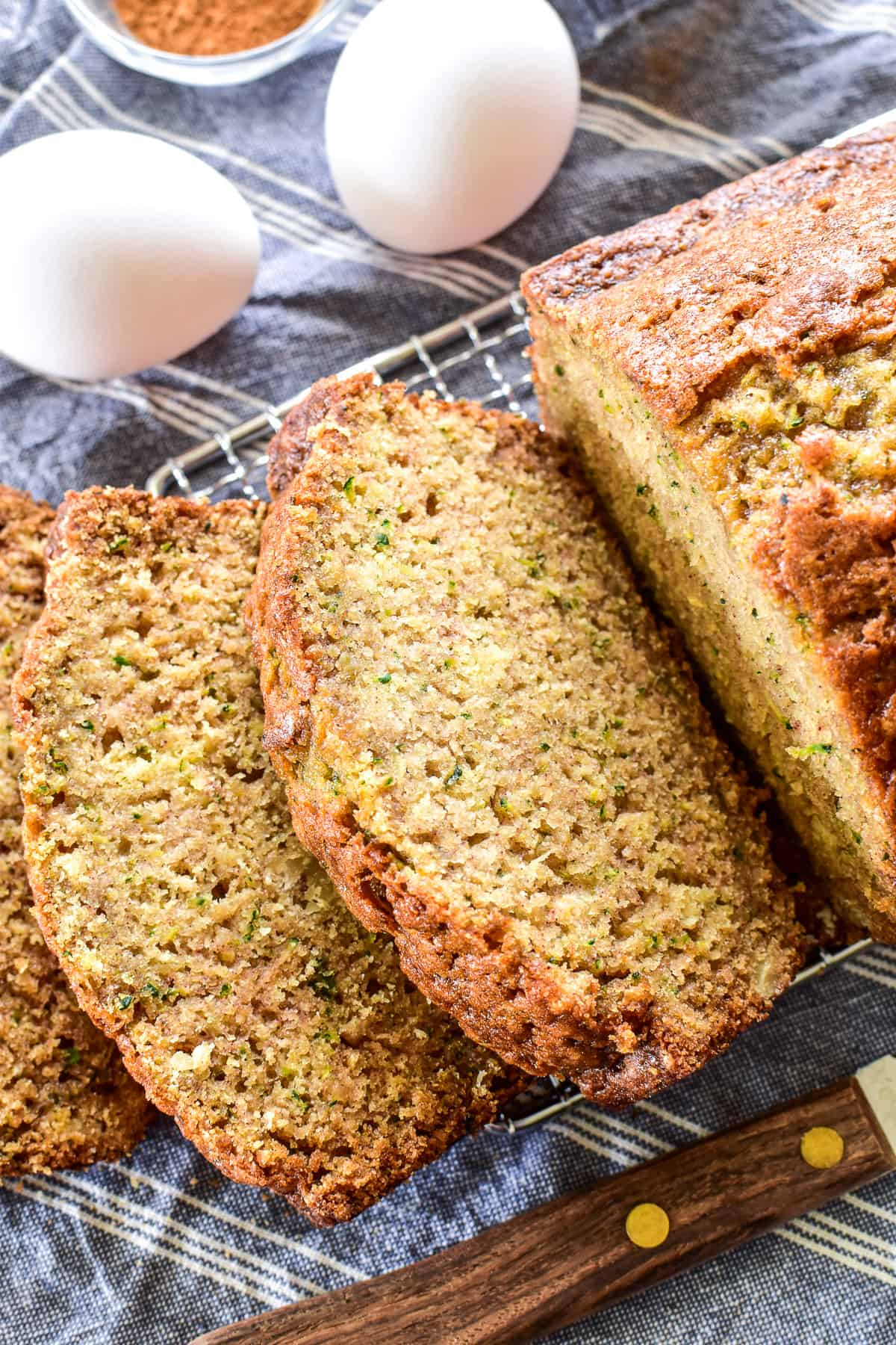 Sliced Zucchini Bread on cooling rack