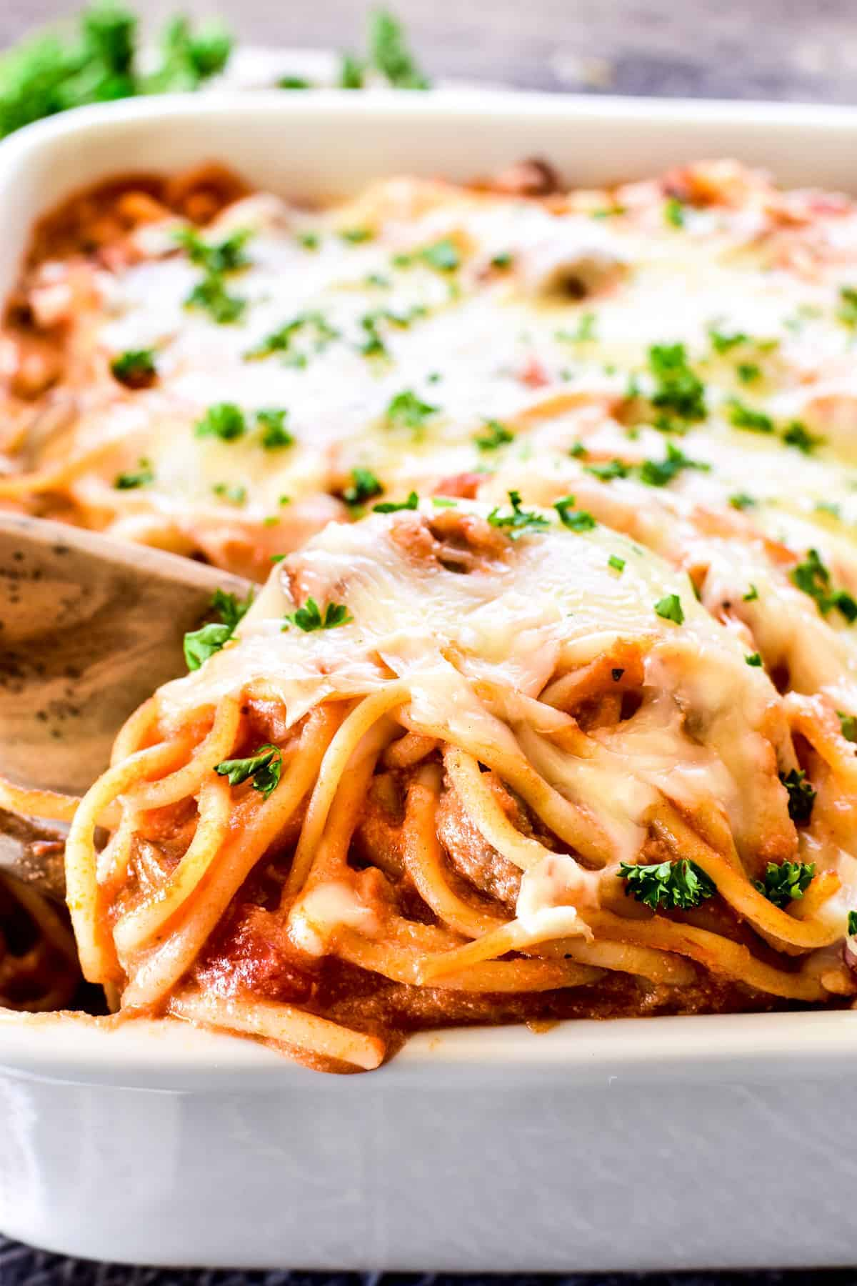 Baked Spaghetti on a serving spoon