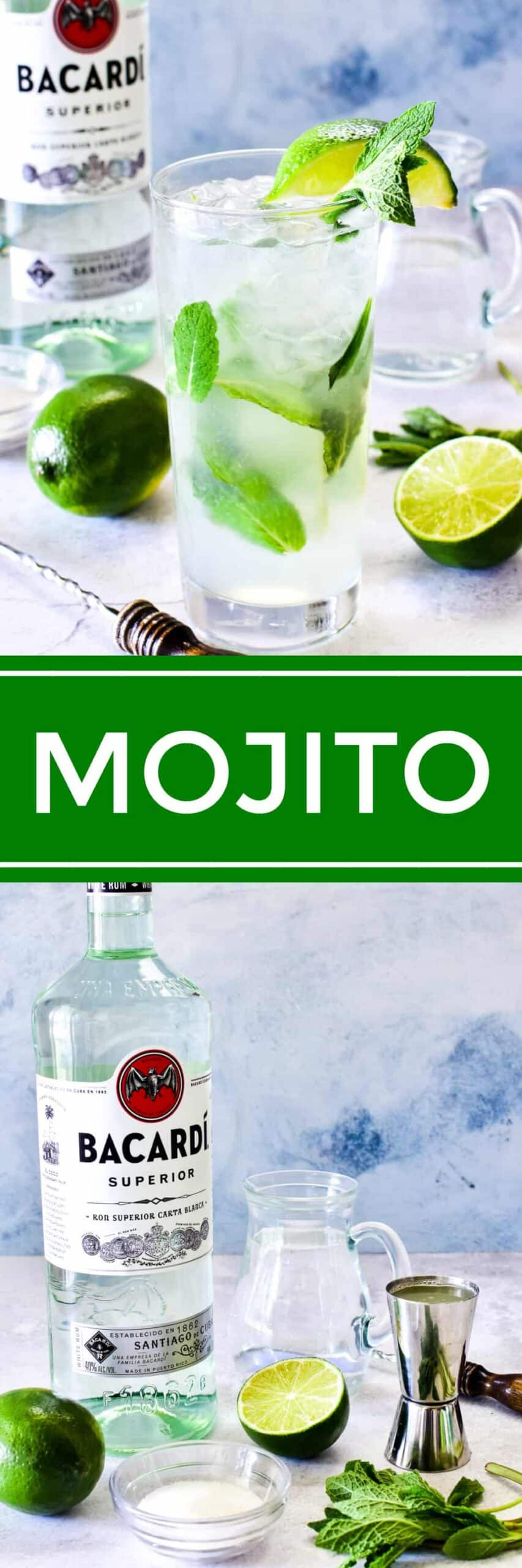 Collage image of Mojito ingredients and assembled drink