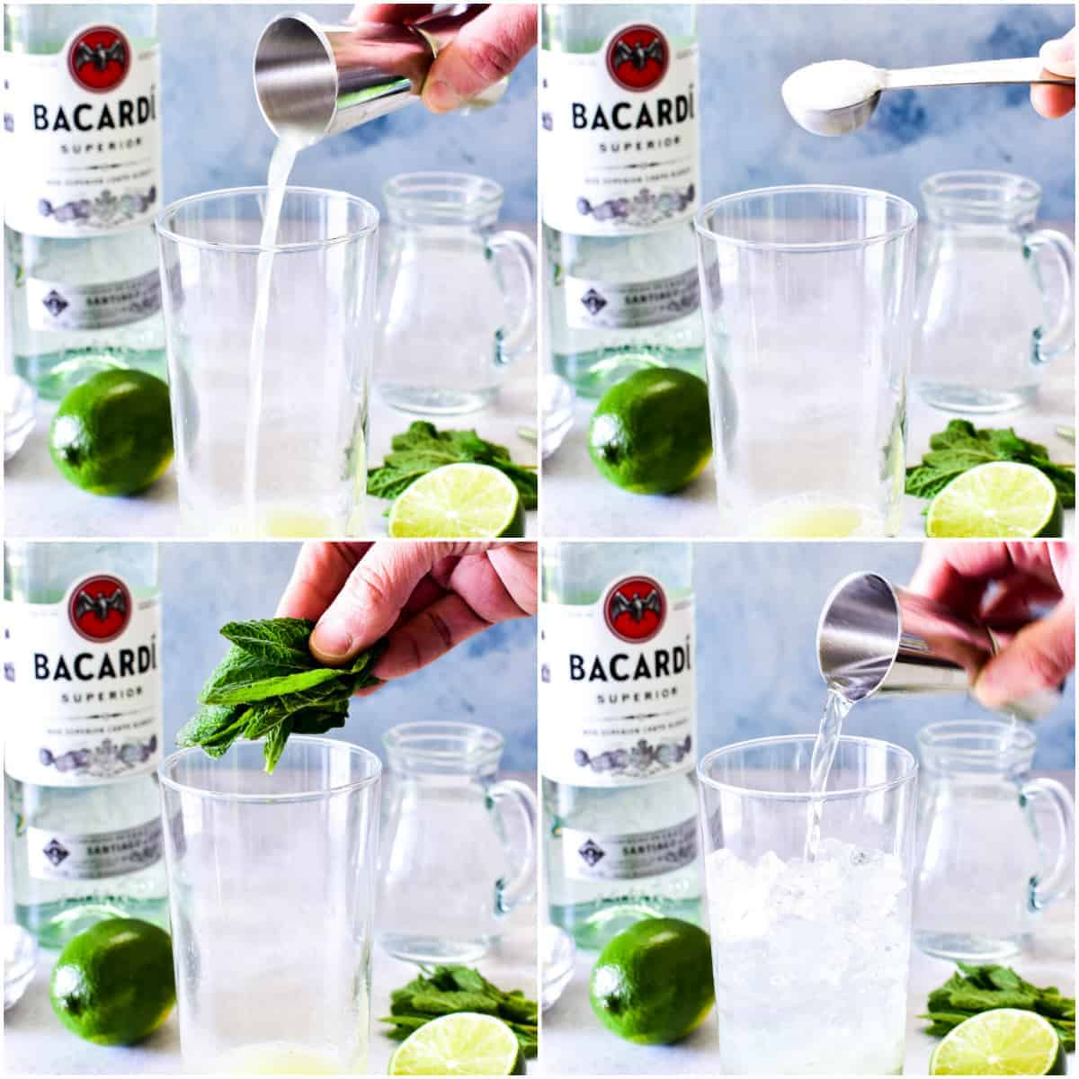 Step by step photos of Mojito making