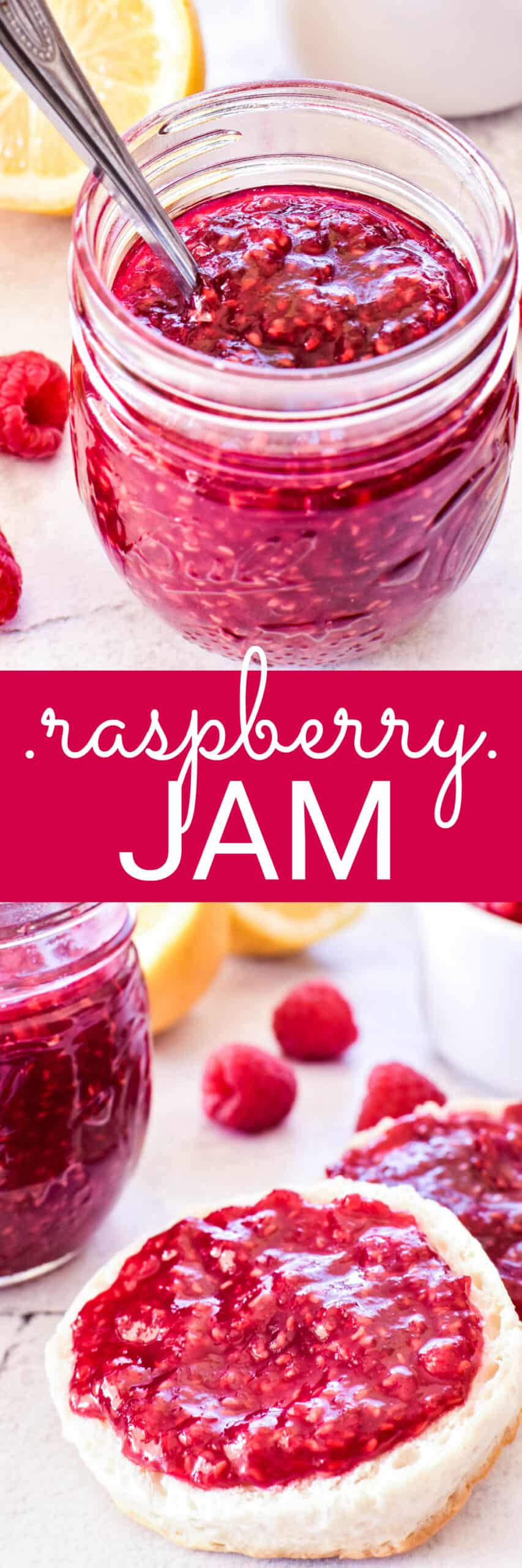 Collage image of Raspberry jam in jar and on biscuit