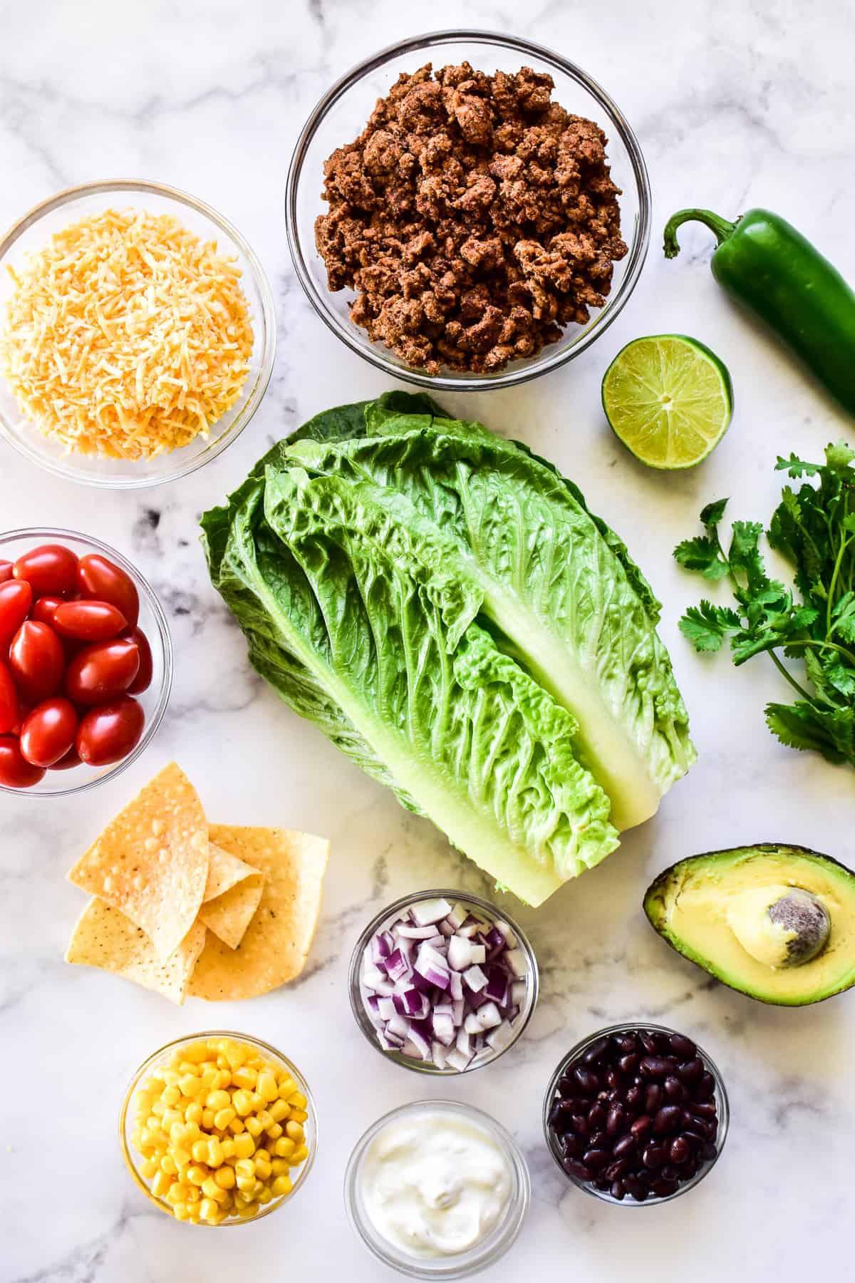 Taco Salad ingredients