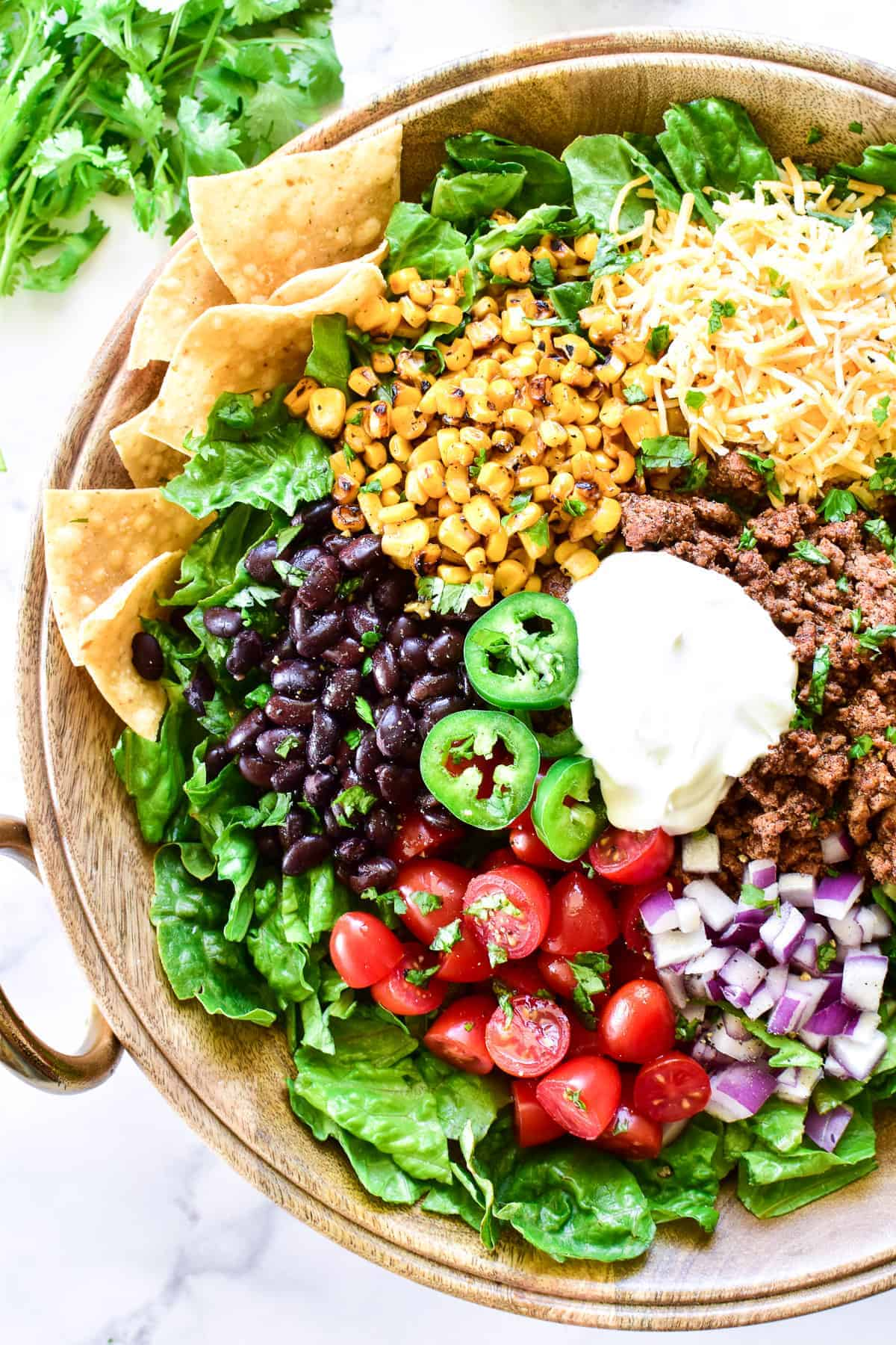 Overhead image of Taco Salad in bowl