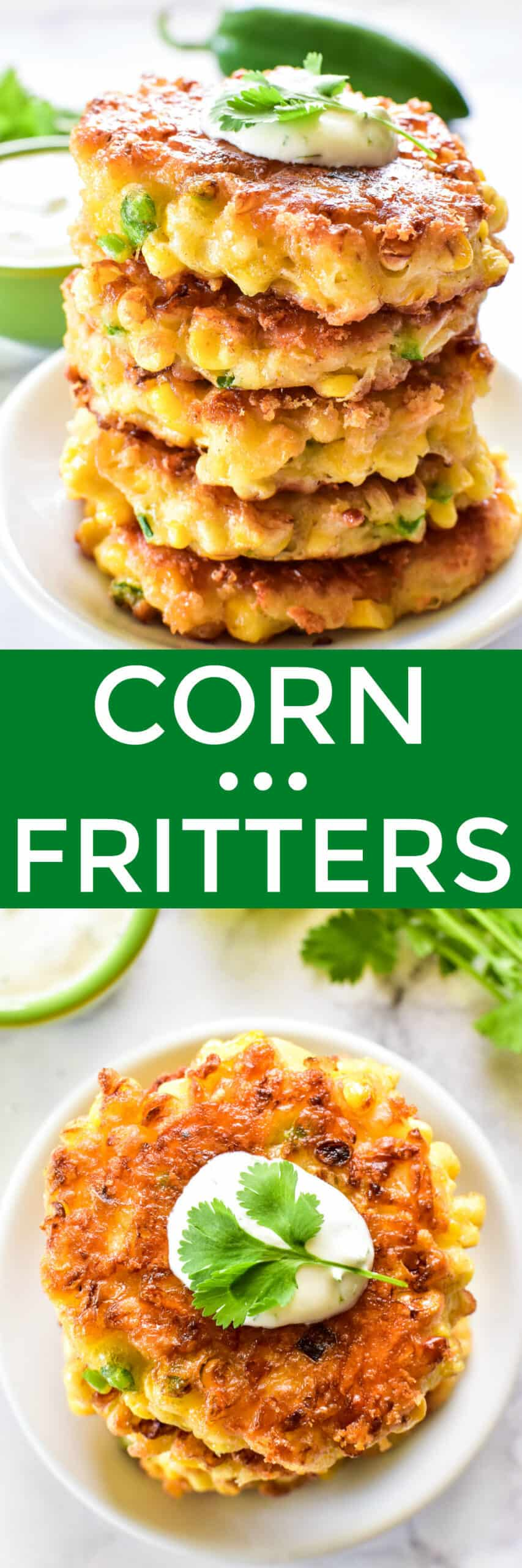 Collage image of Corn Fritters stacked on a plate