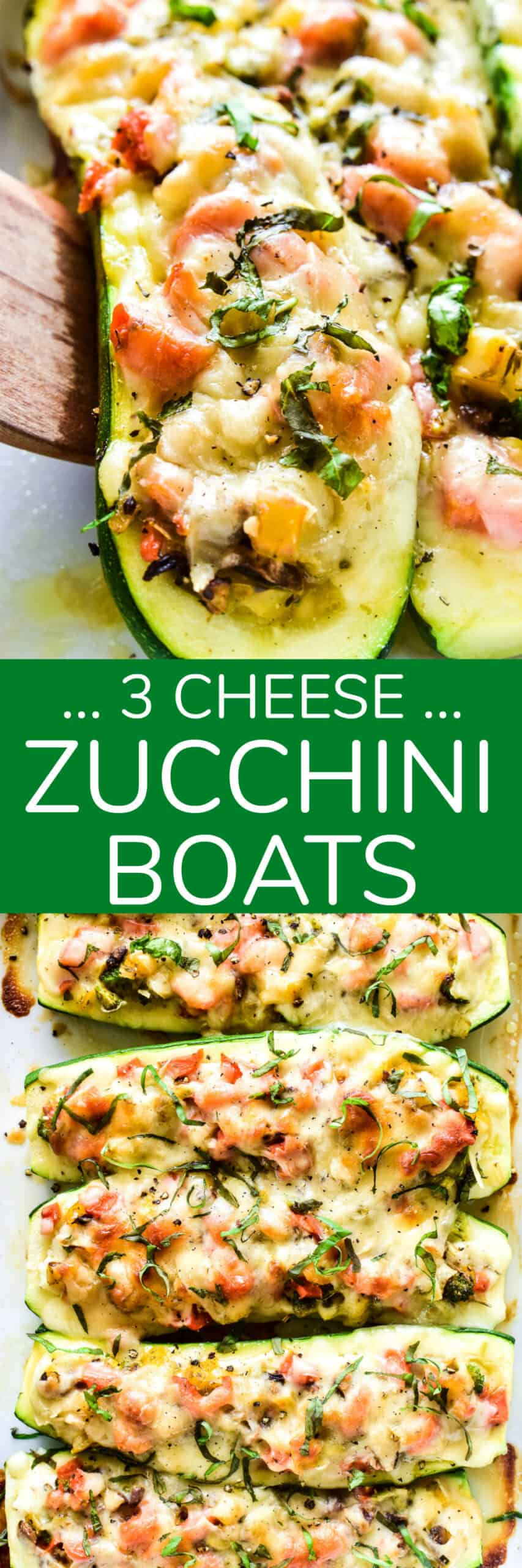 Zucchini Boats are a healthy dinner option with so many fun possibilities! This 3-Cheese version combines sauteed veggies with ricotta, mozzarella, and Parmesan cheeses in a delicious low-carb meal the whole family will love!