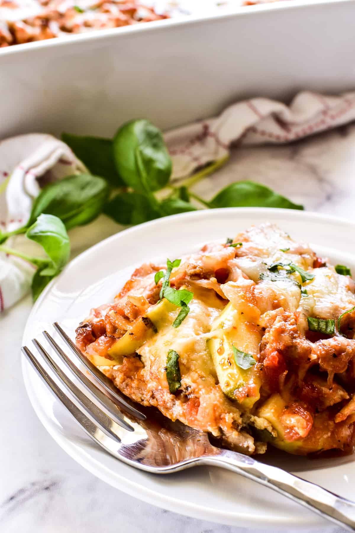 Zucchini Lasaga on a white plate