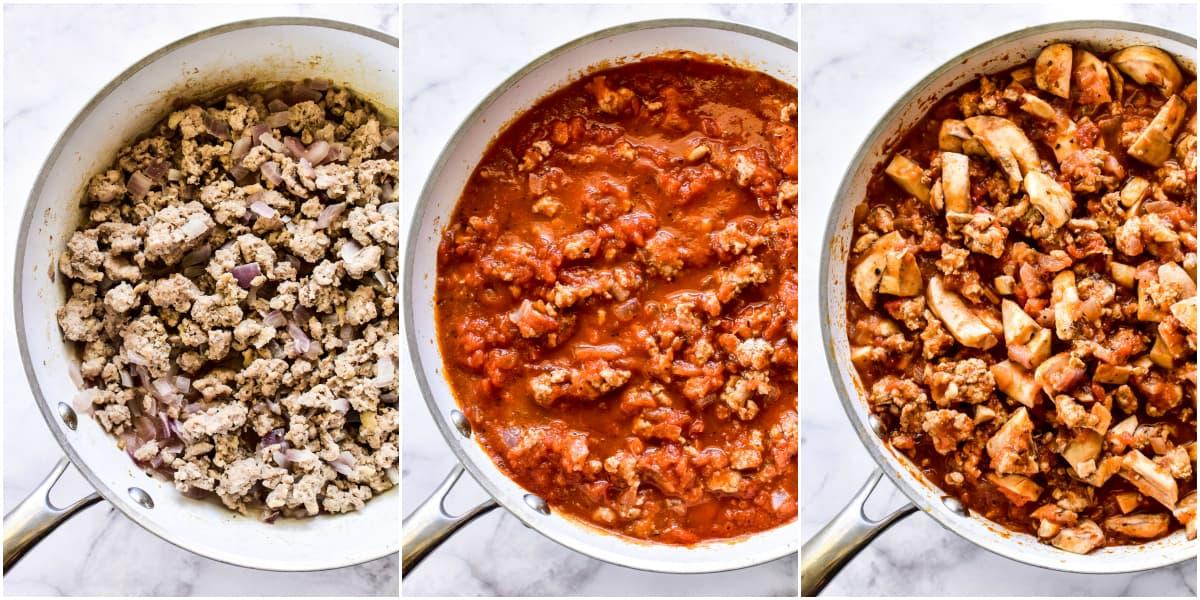 Process shots of sauce mixture