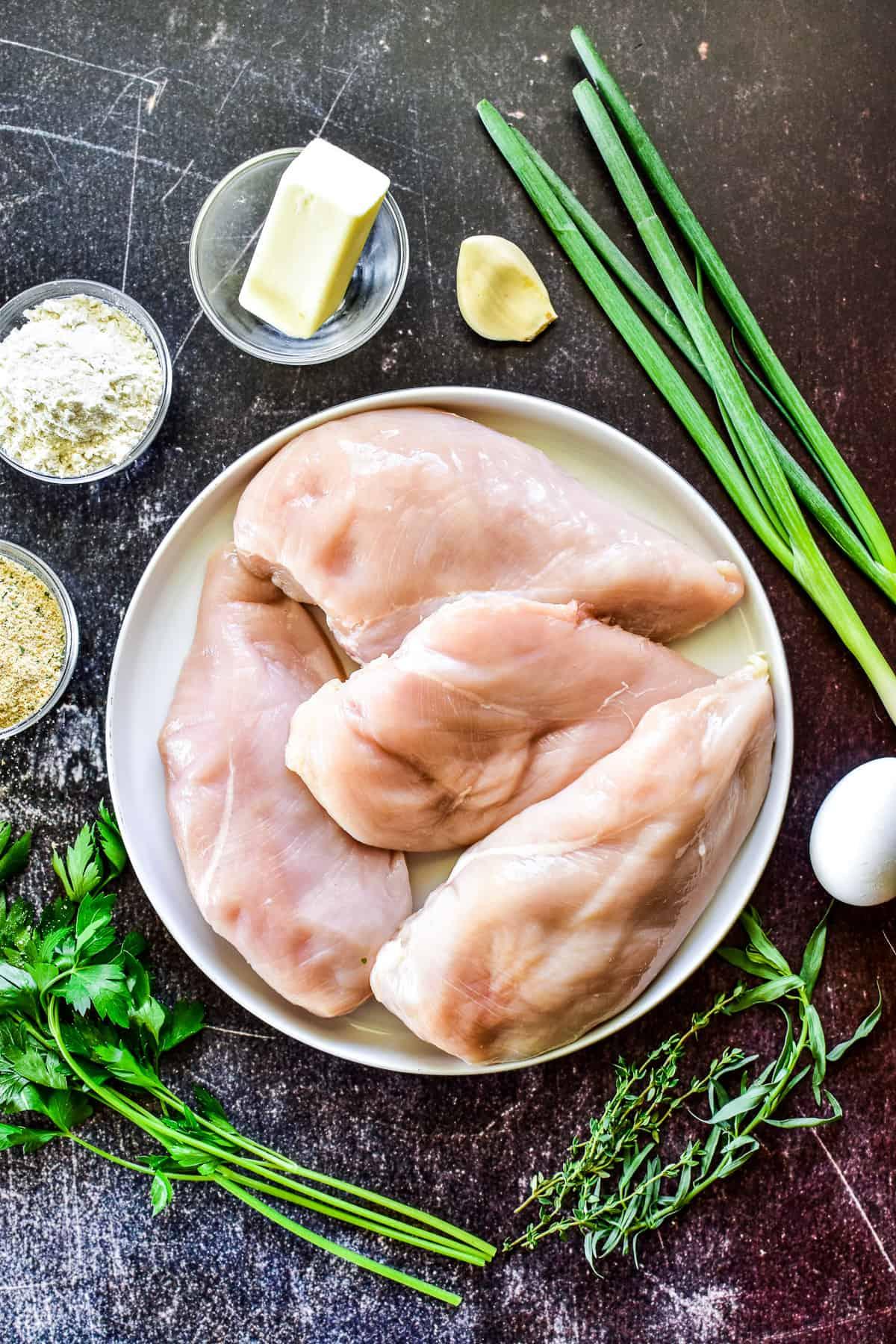 Overhead shot of Chicken Kiev ingredients