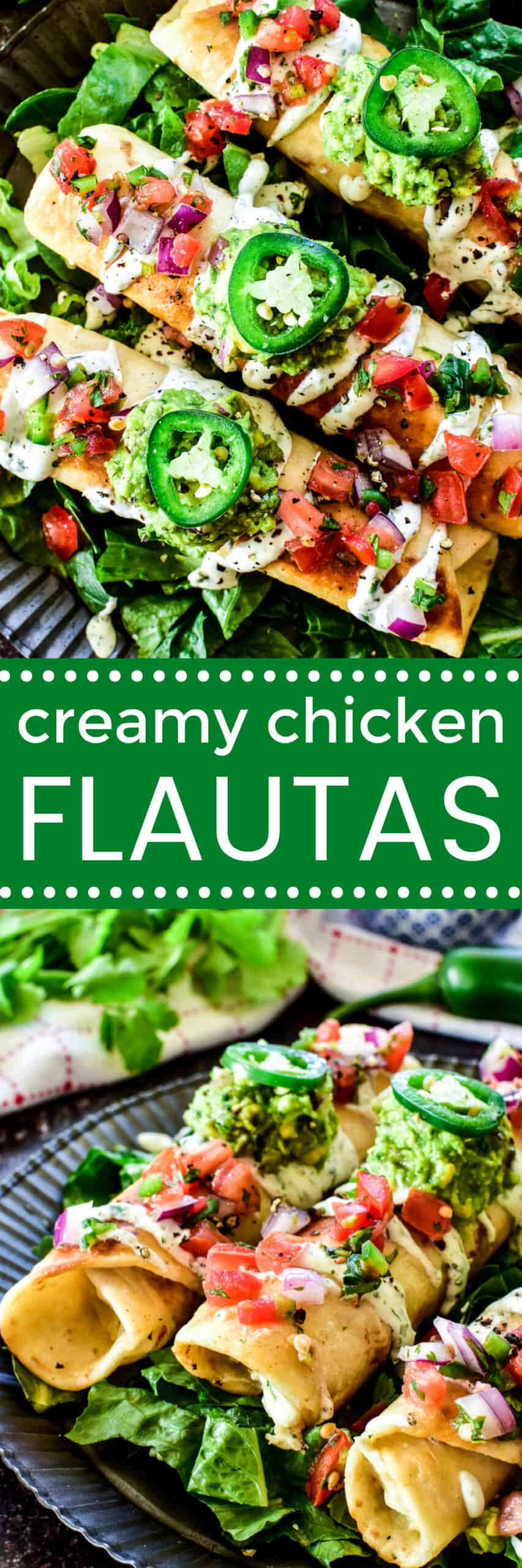 Collage image of Chicken Flautas