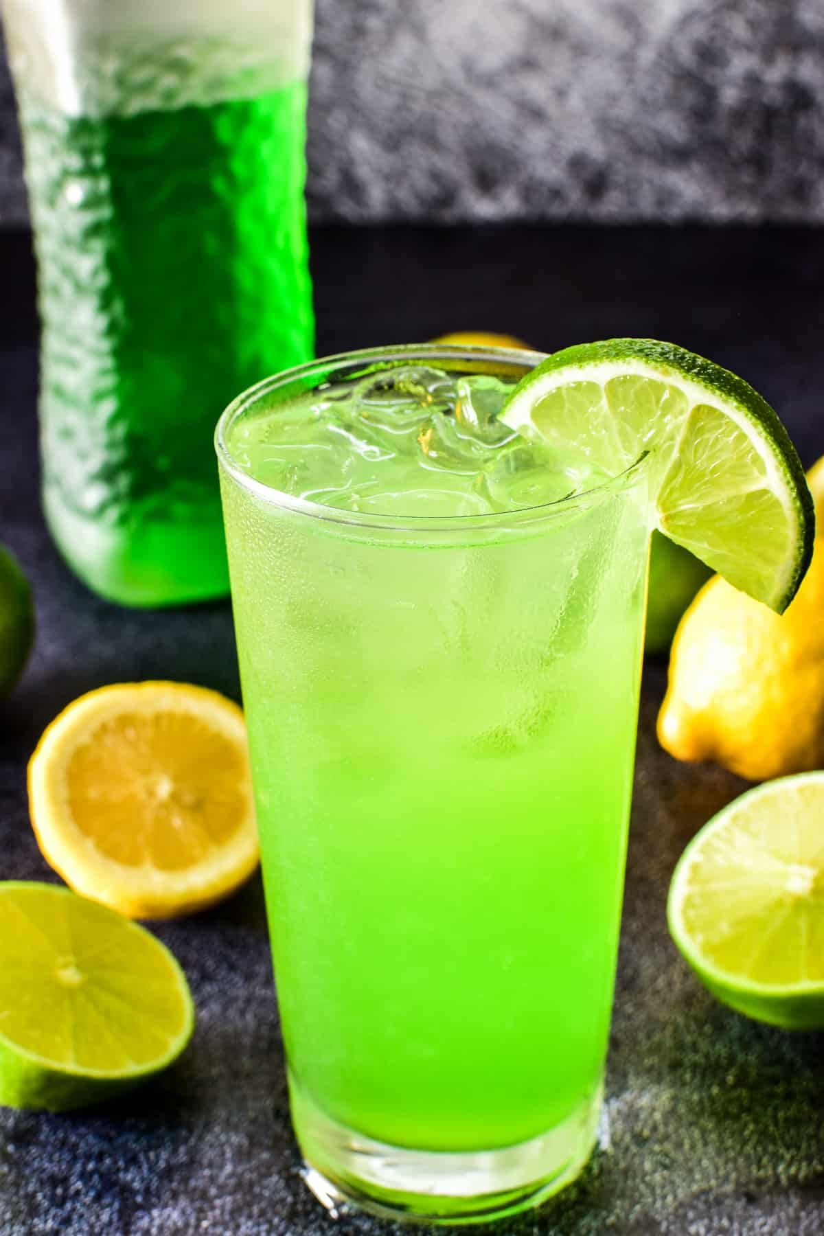Close up of Midori Sour with lime slice