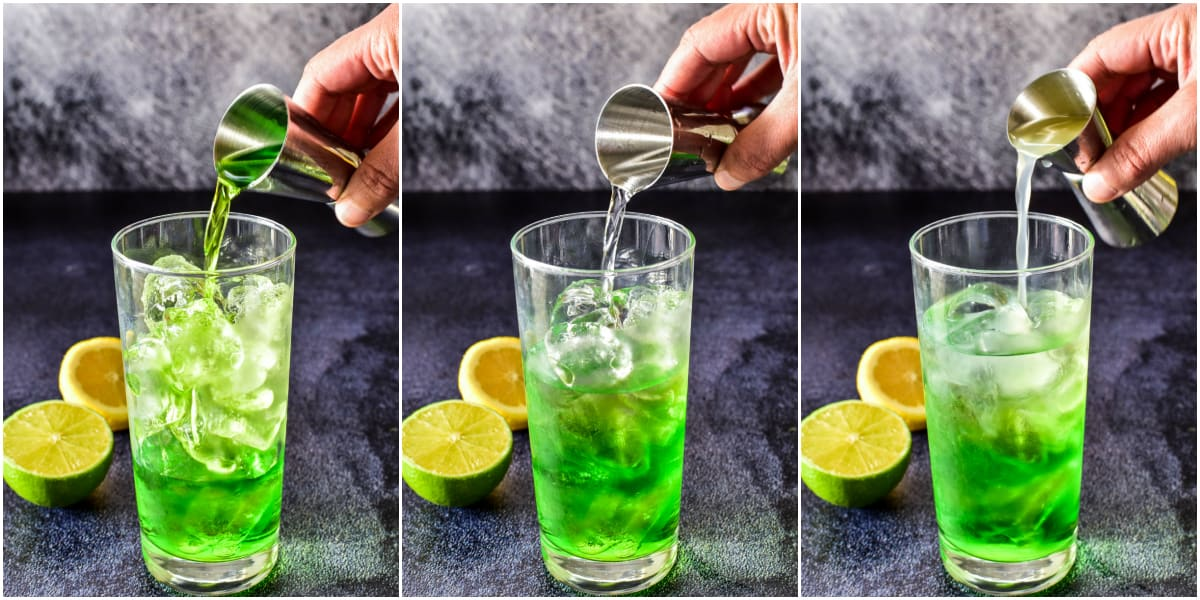 How to make a Midori Sour steps 1, 2, and 3
