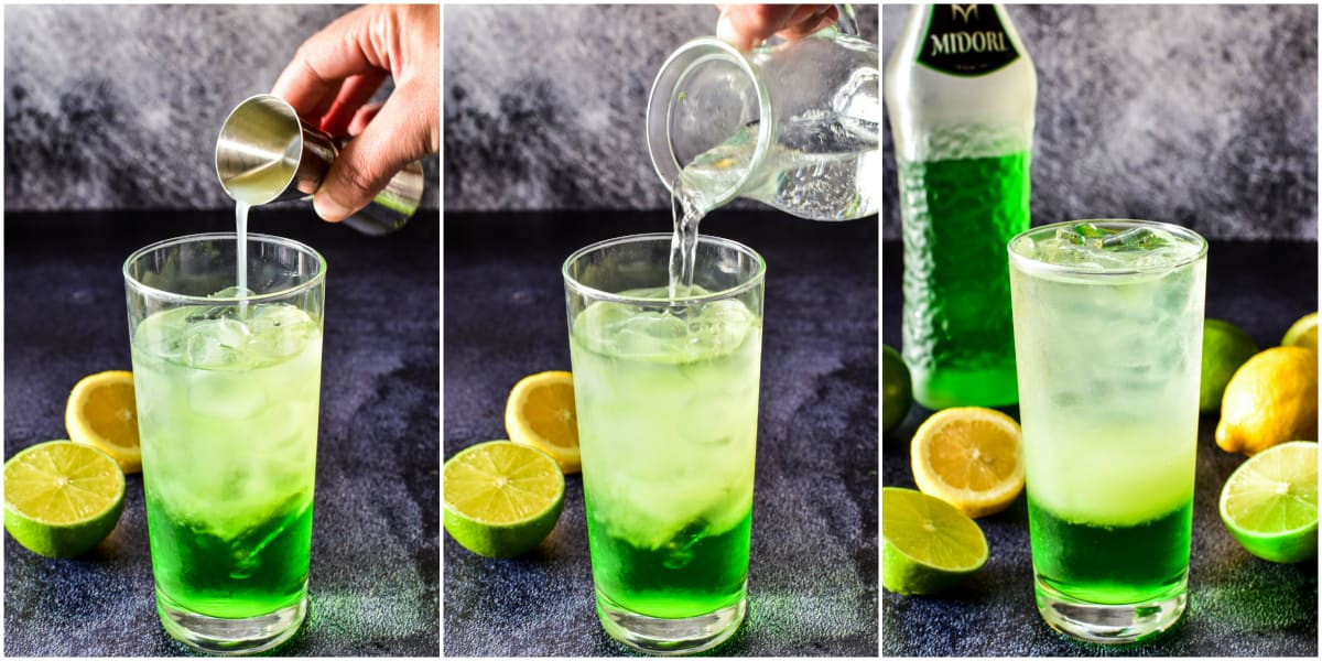 How to make a Midori Sour steps 4, 5, and 6