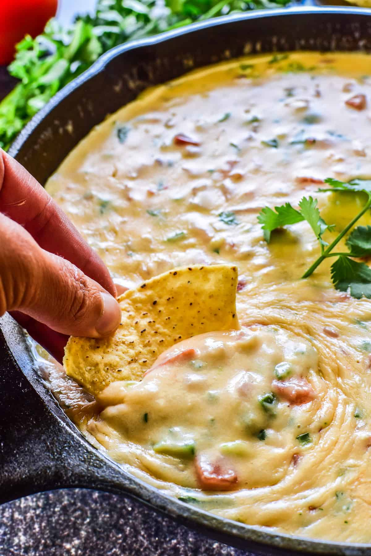 Tortilla chip being dipped into Queso