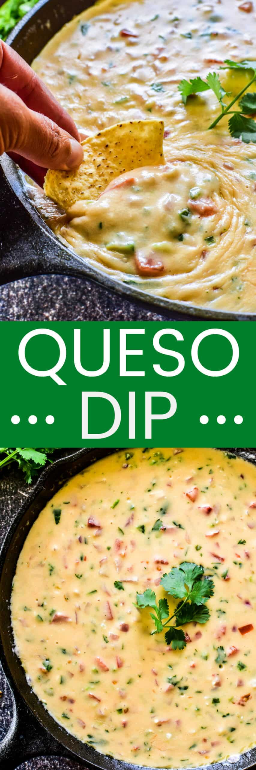Collage image of Queso Dip
