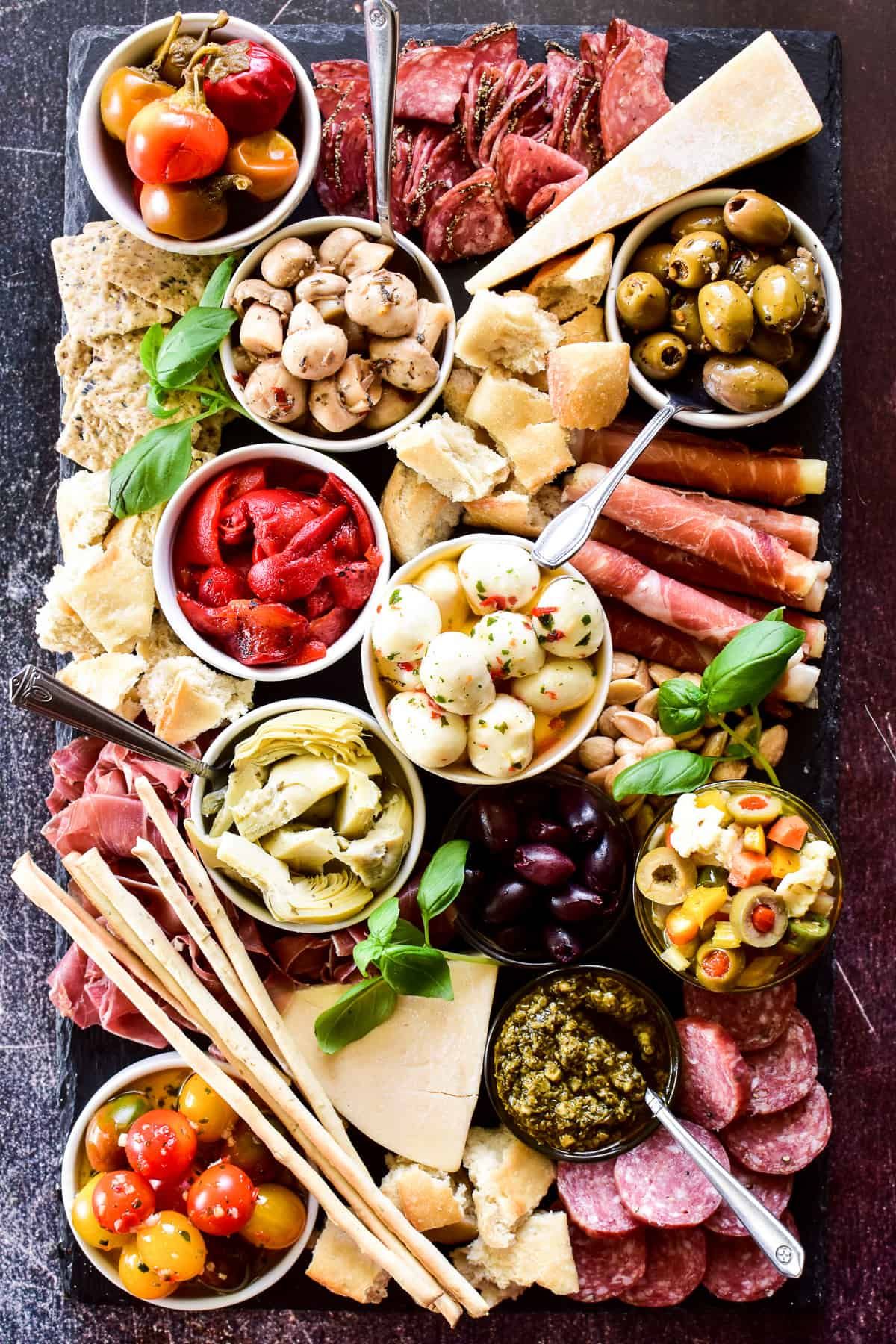 Overhead shot of Antipasto Platter assembled on a slate tray