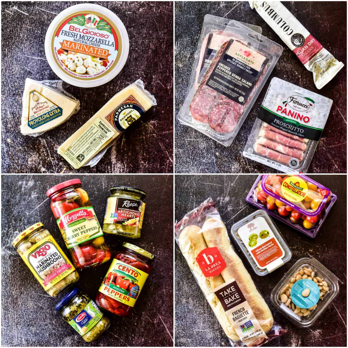 Cheese, meat, and veggie packages for antipasto