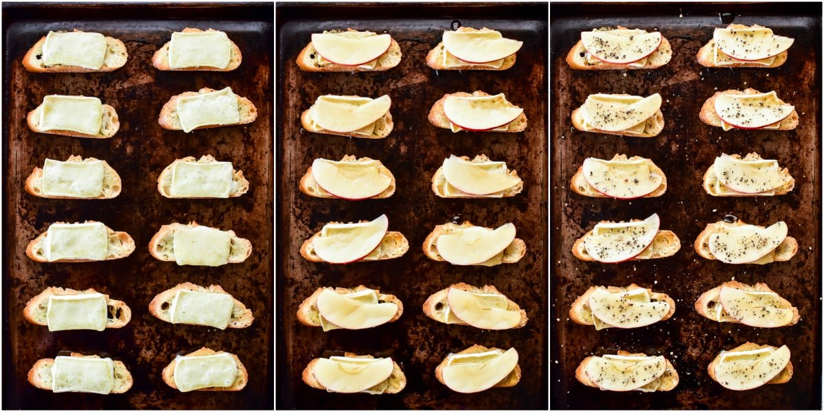 Step by step process shots of assembling Apple Brie Crostini