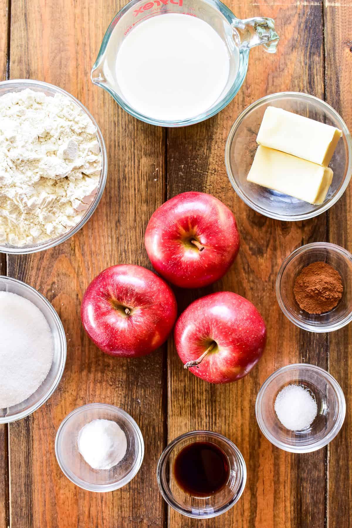 Overhead shot of apple cake ingredients