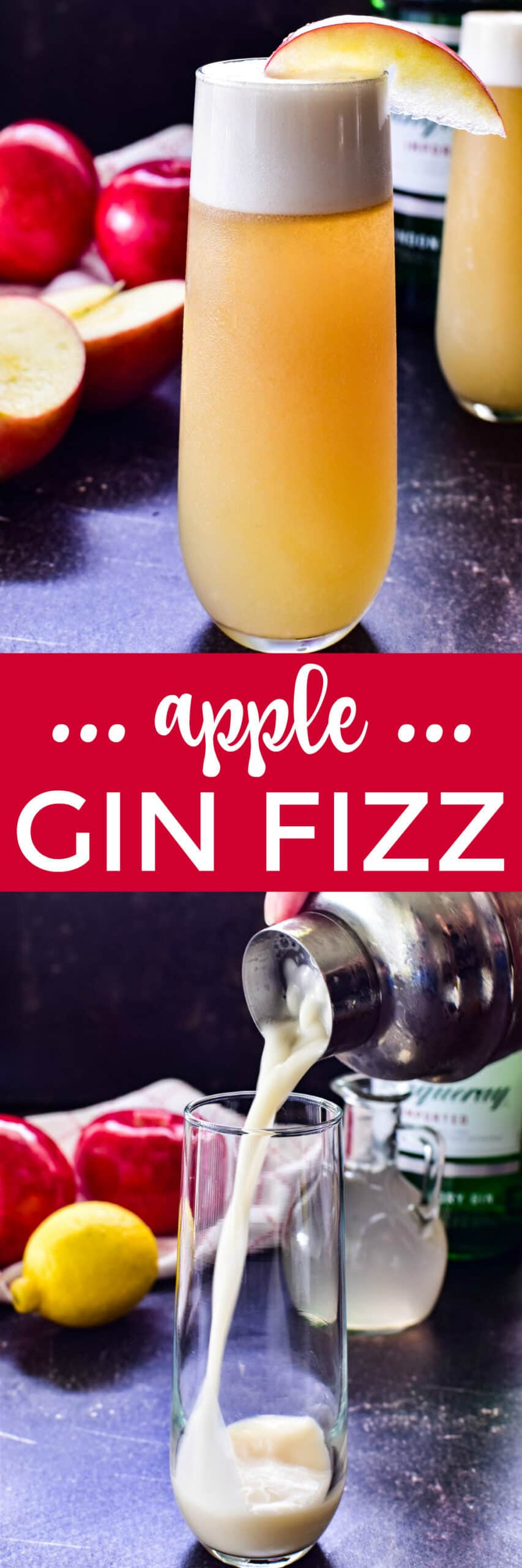 Collage image of Apple Gin Fizz