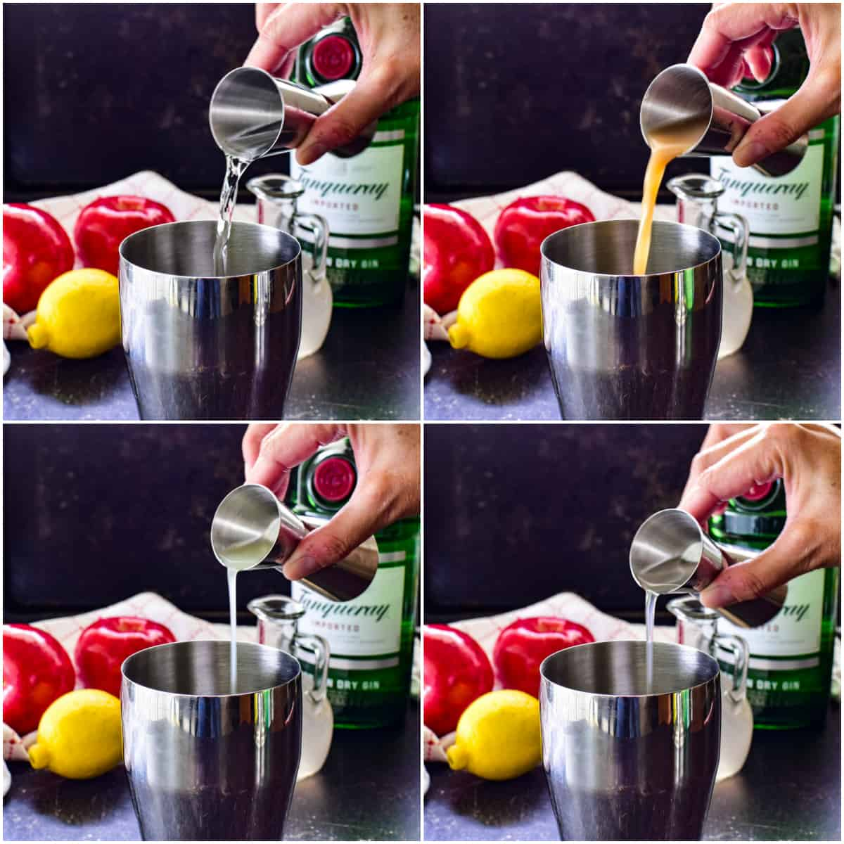 Step by step shots of mixing an Apple Gin Fizz