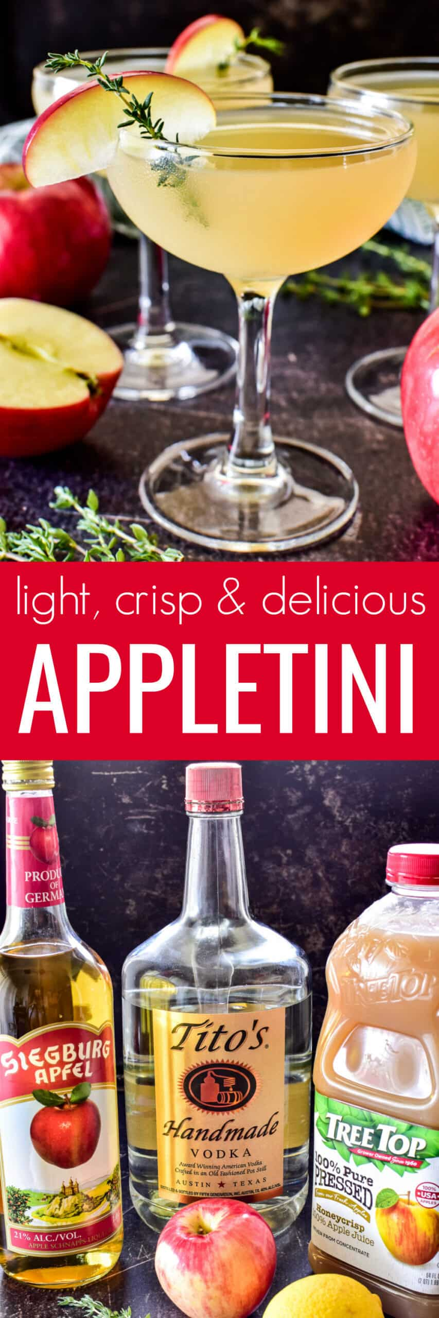 Collage image of Appletini and ingredients