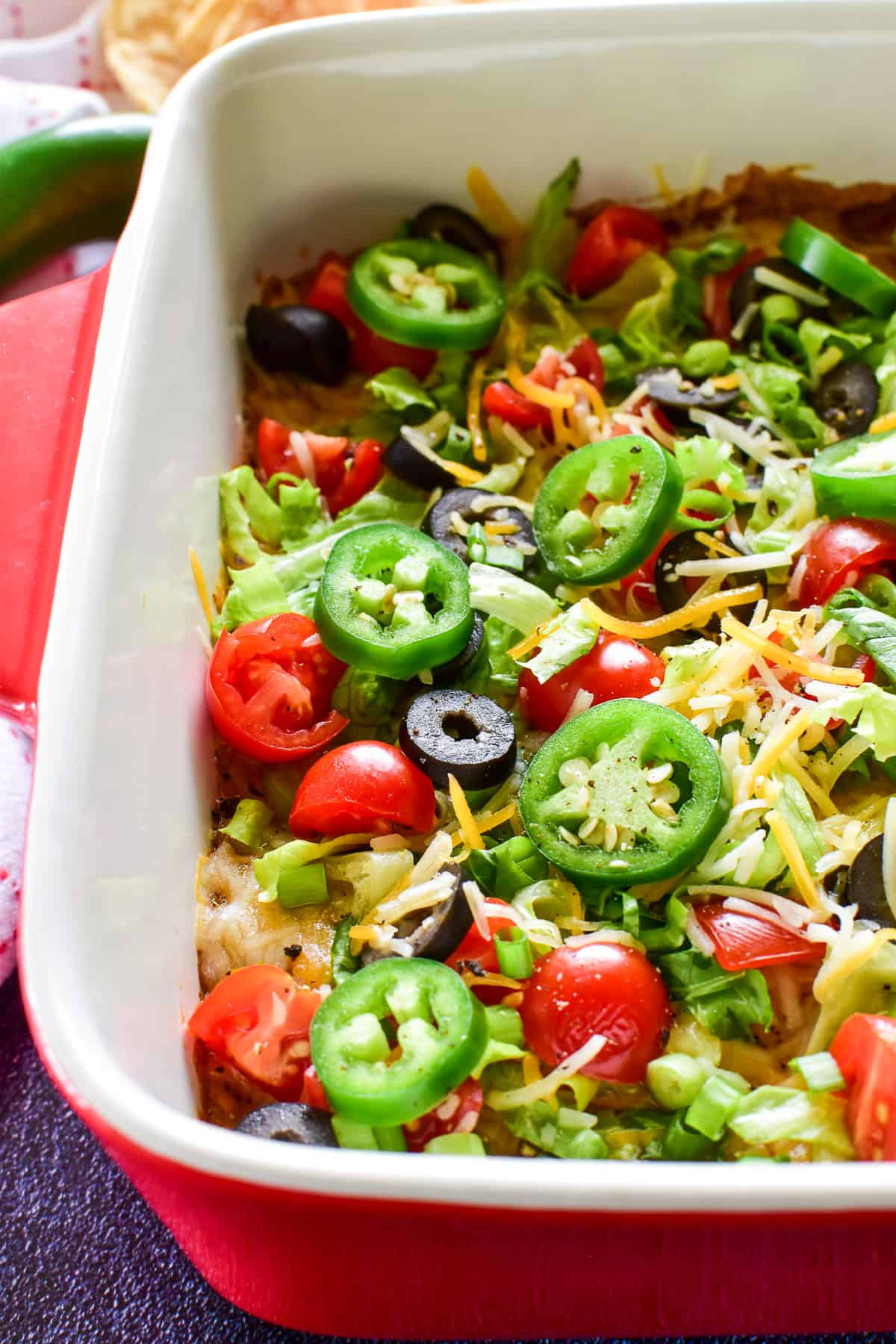 Side view of Baked Taco Dip