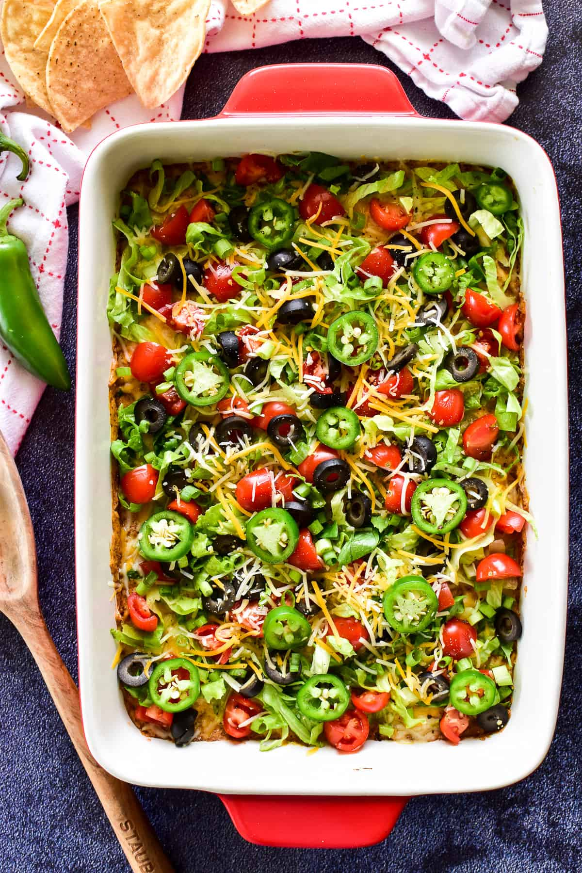 Overhead image of Taco Dip in 9x13 inch pan