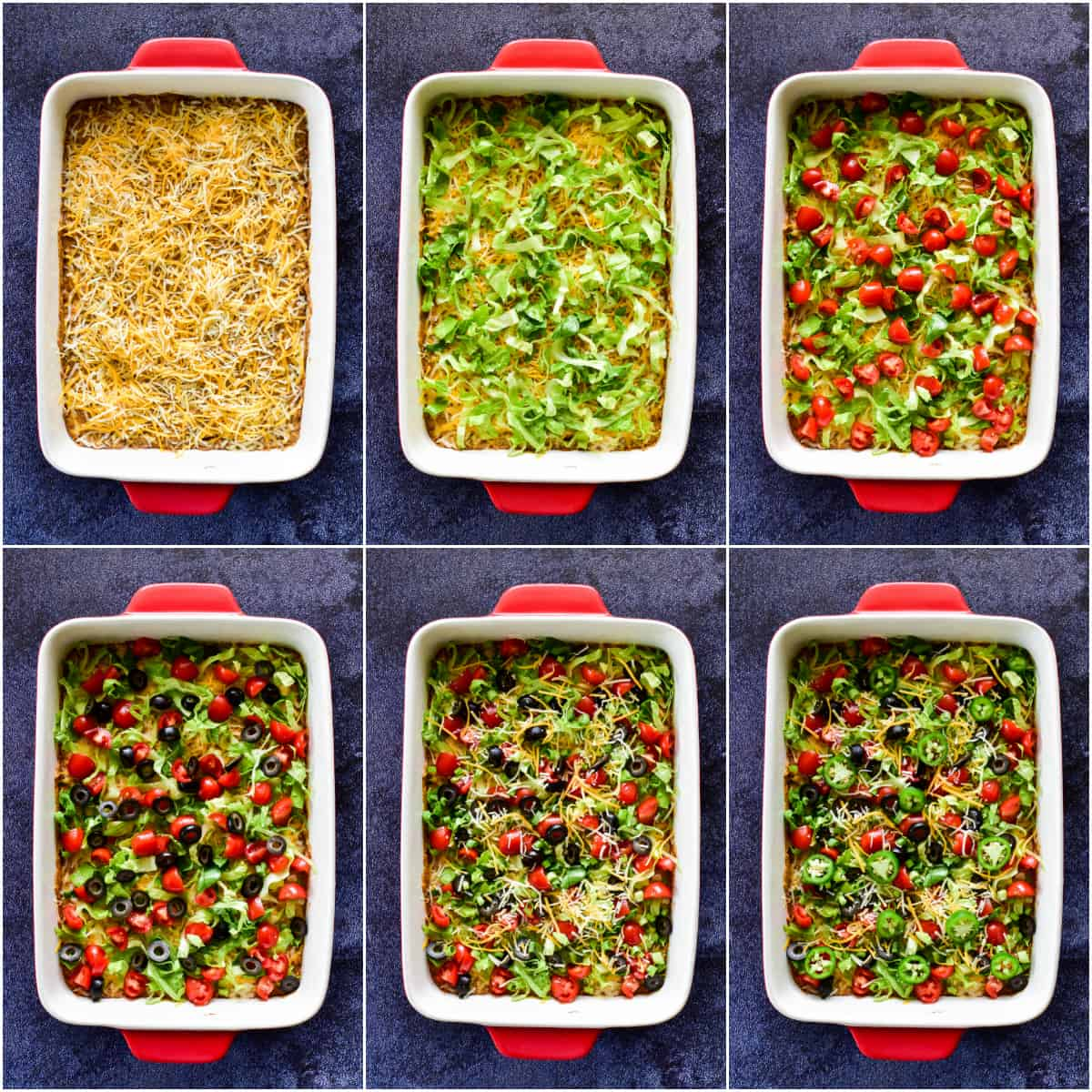 Step by step shots of topping the taco dip