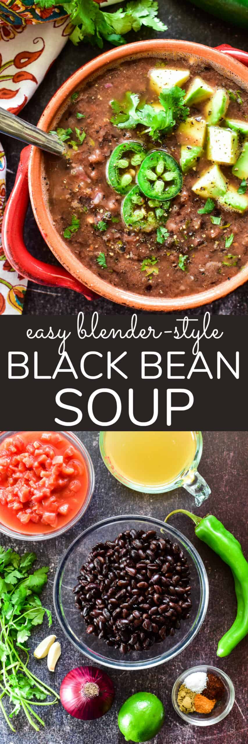 Collage image of Black Bean Soup & ingredients