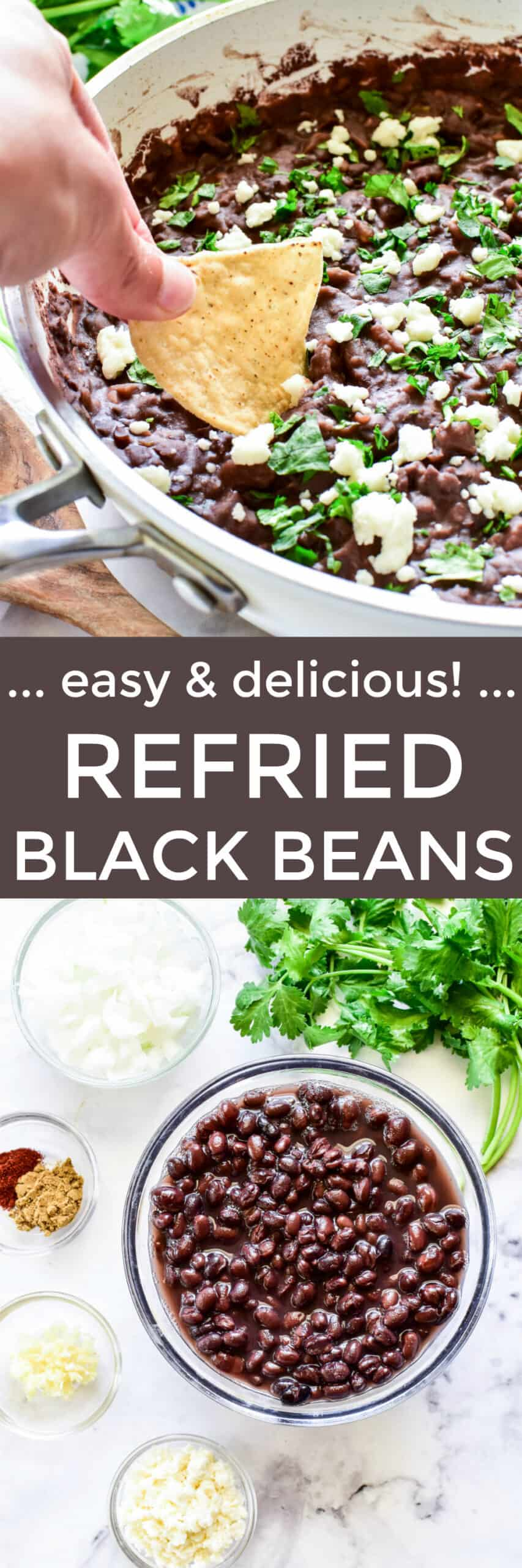 Collage image of Refried Black Beans