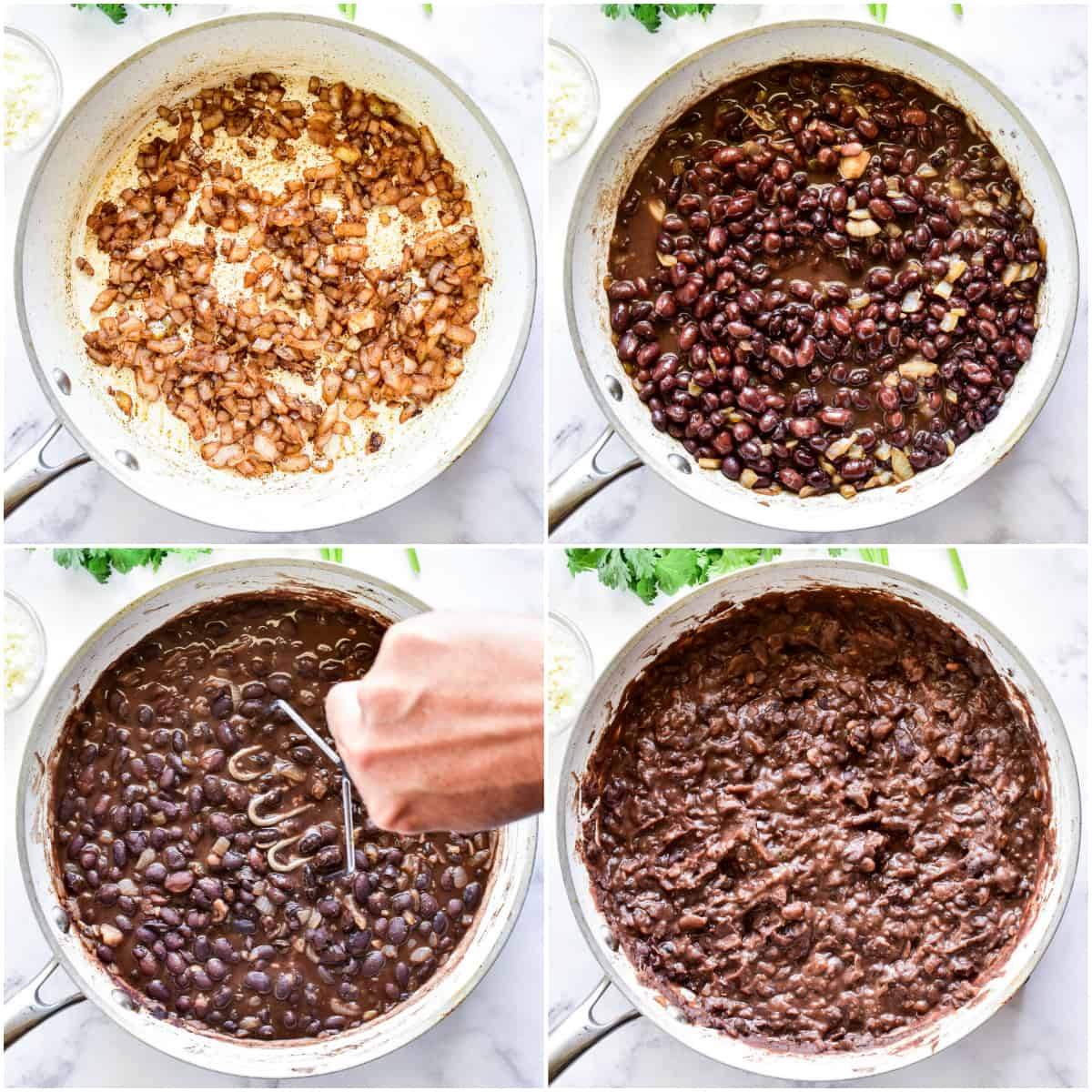 Process photos showing how to make Refried Black Beans