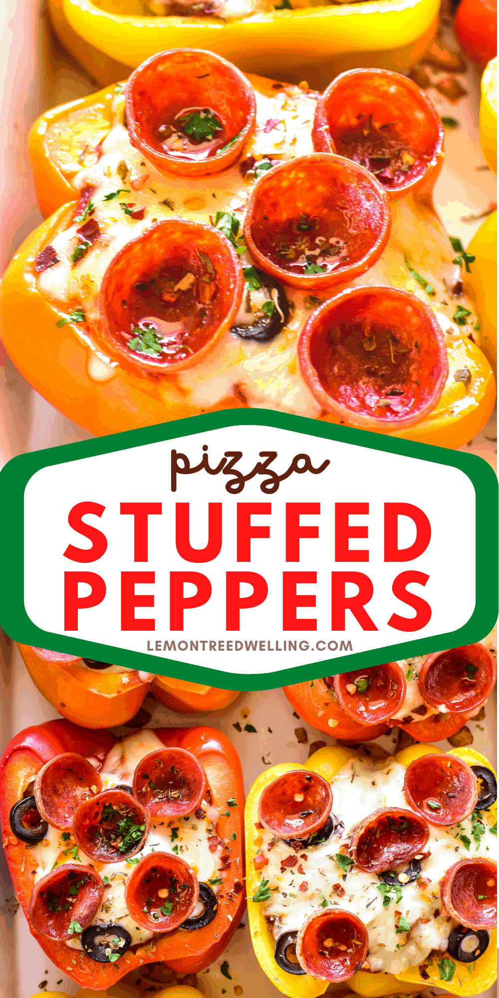 Collage image of Pizza Stuffed Peppers
