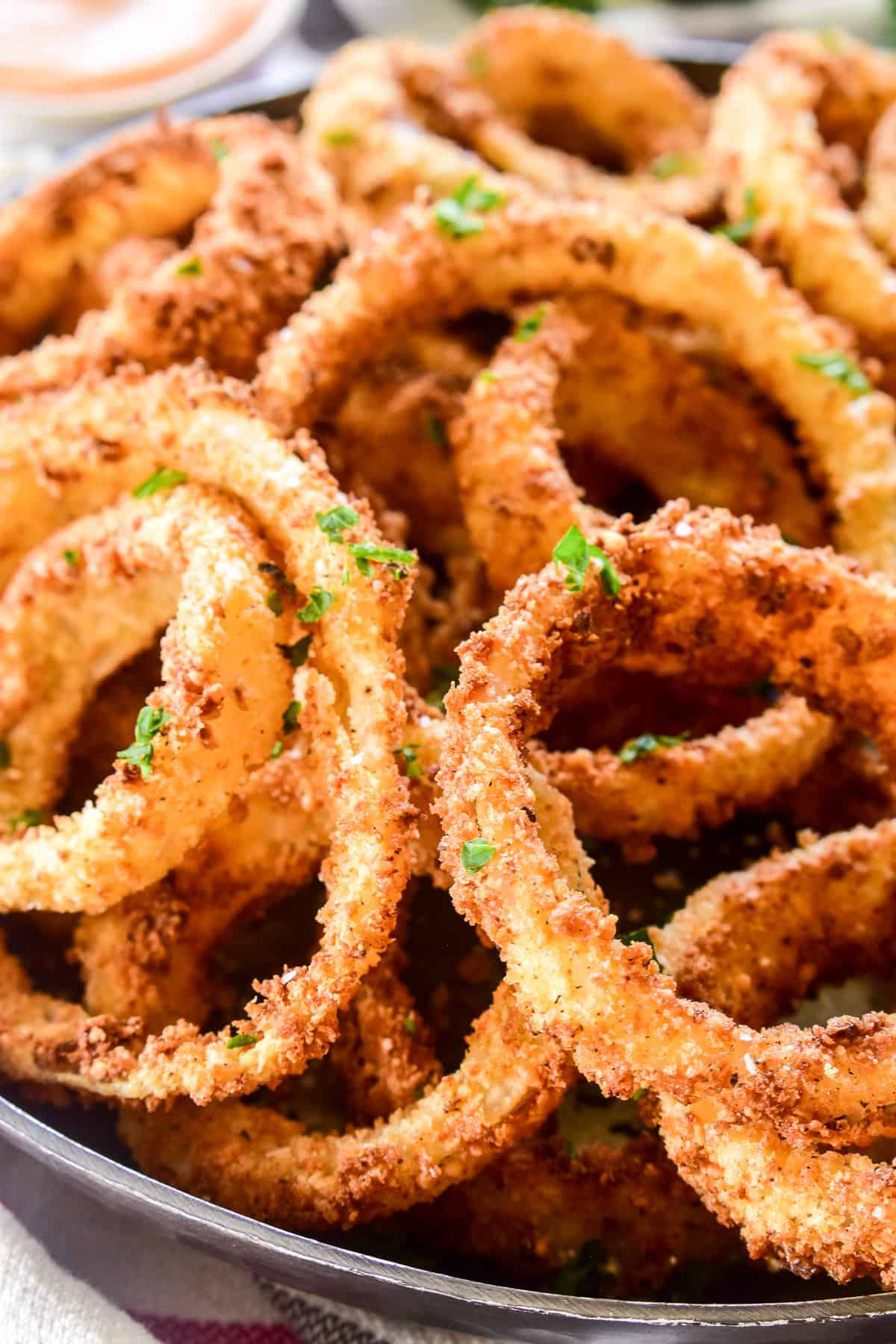 Extreme close up of Onion Rings on a plate