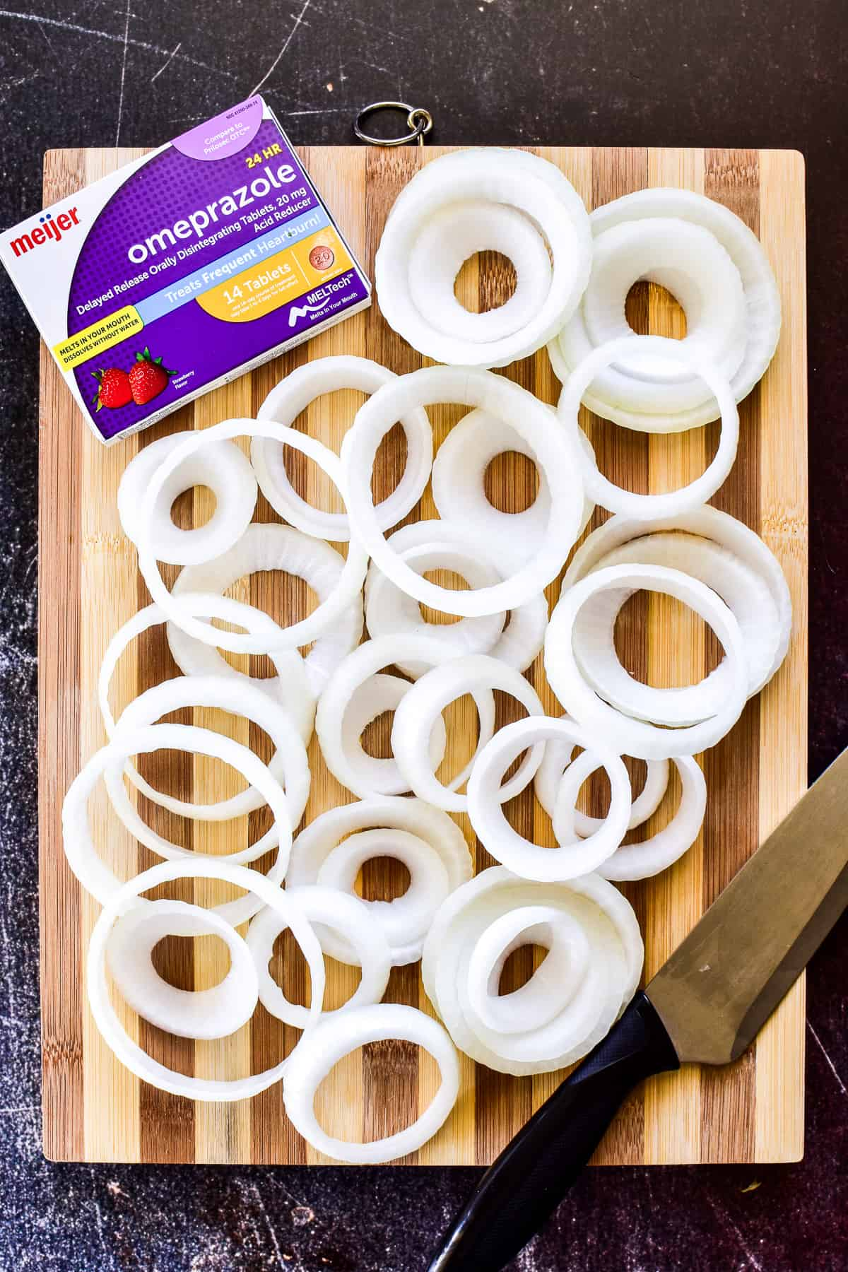 Sliced raw onions for onion rings