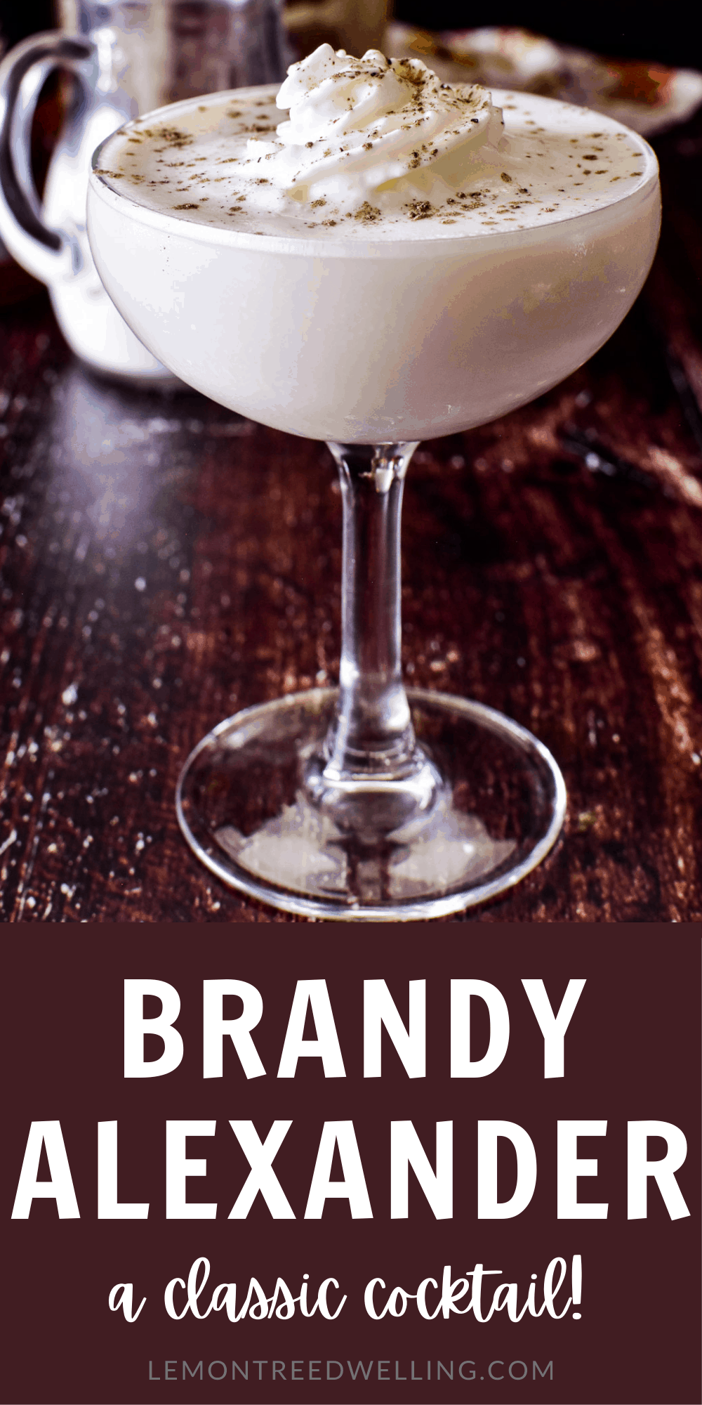 Brandy Alexander cocktail with title