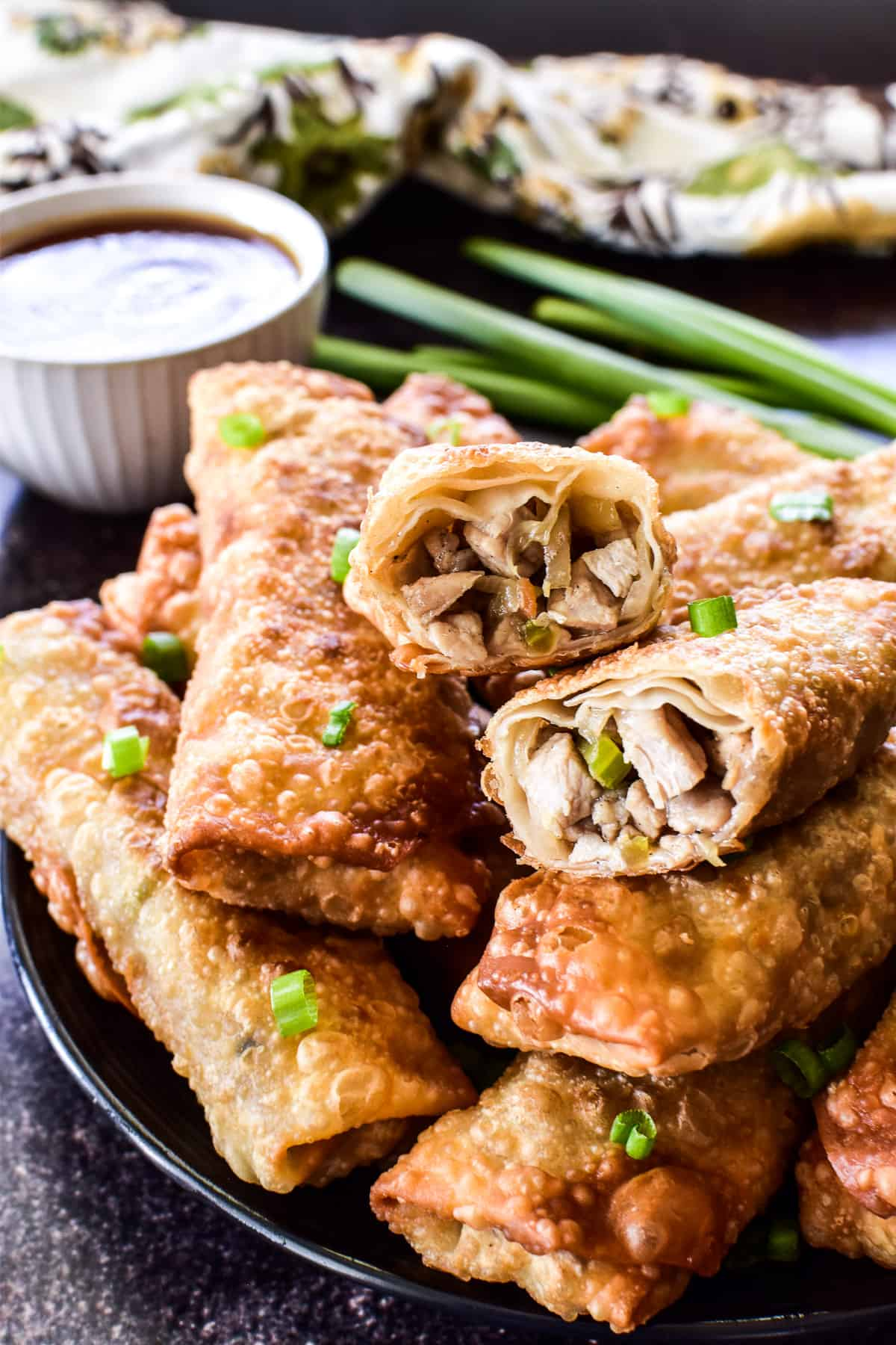 Photo of the inside of a homemade egg roll