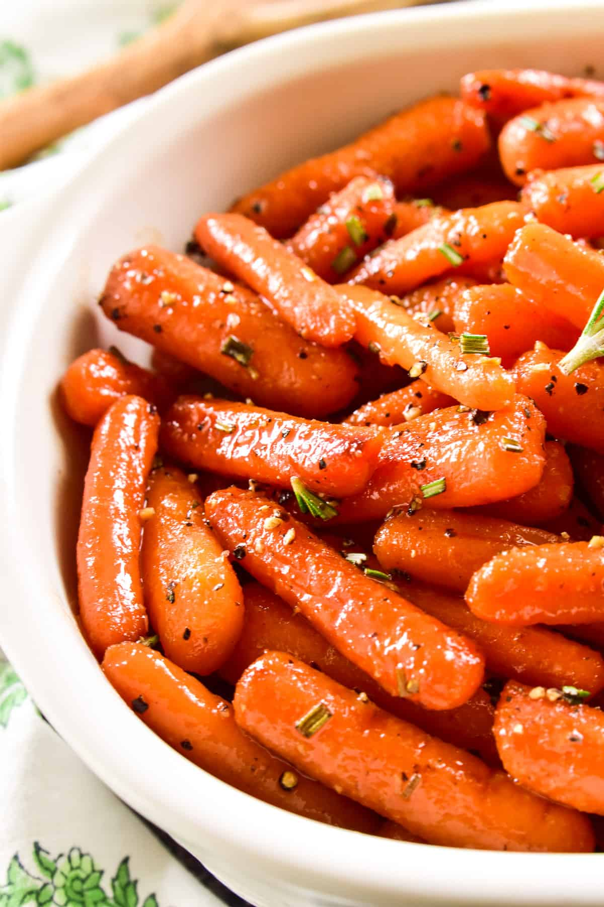 Close up of Honey Glazed Carrots in serving dish