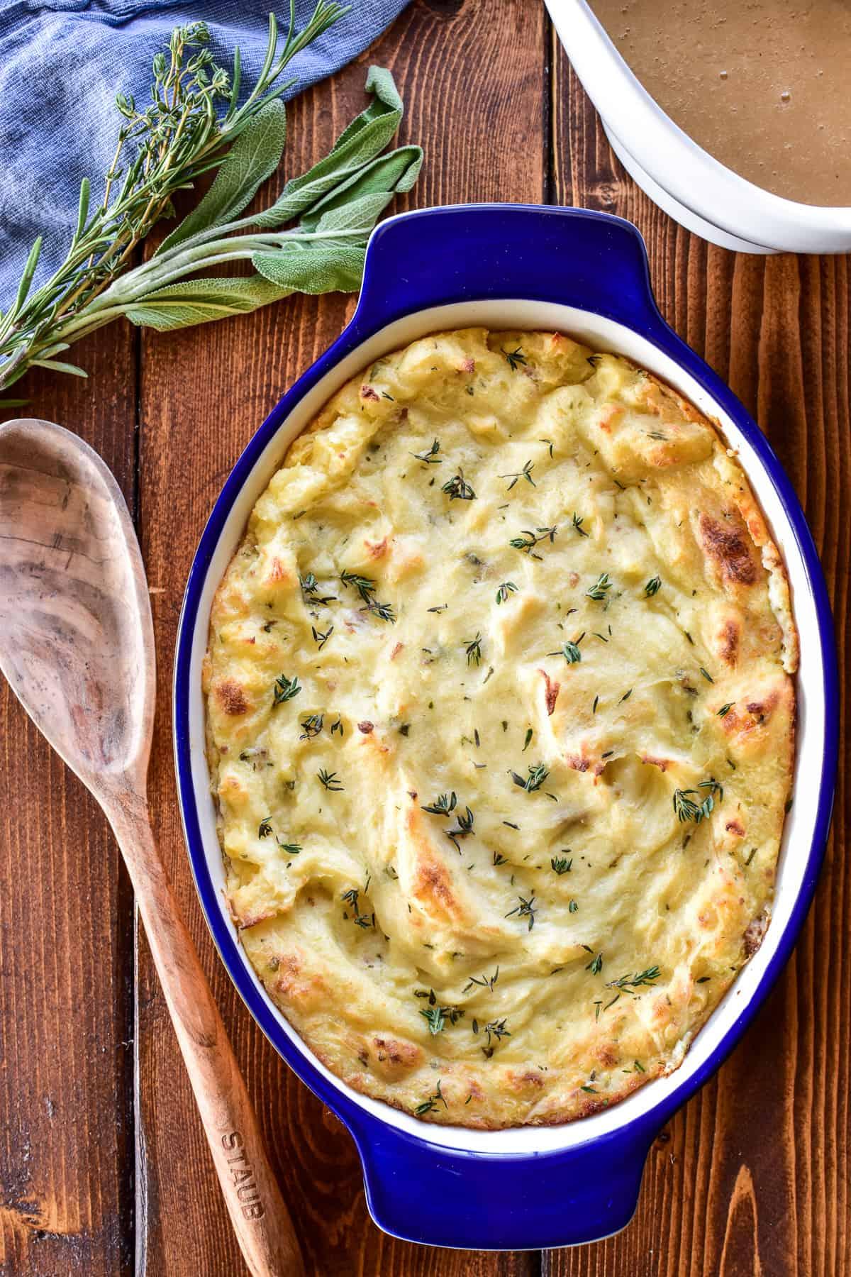 Overhead image of Twice Baked Mashed Potatoes