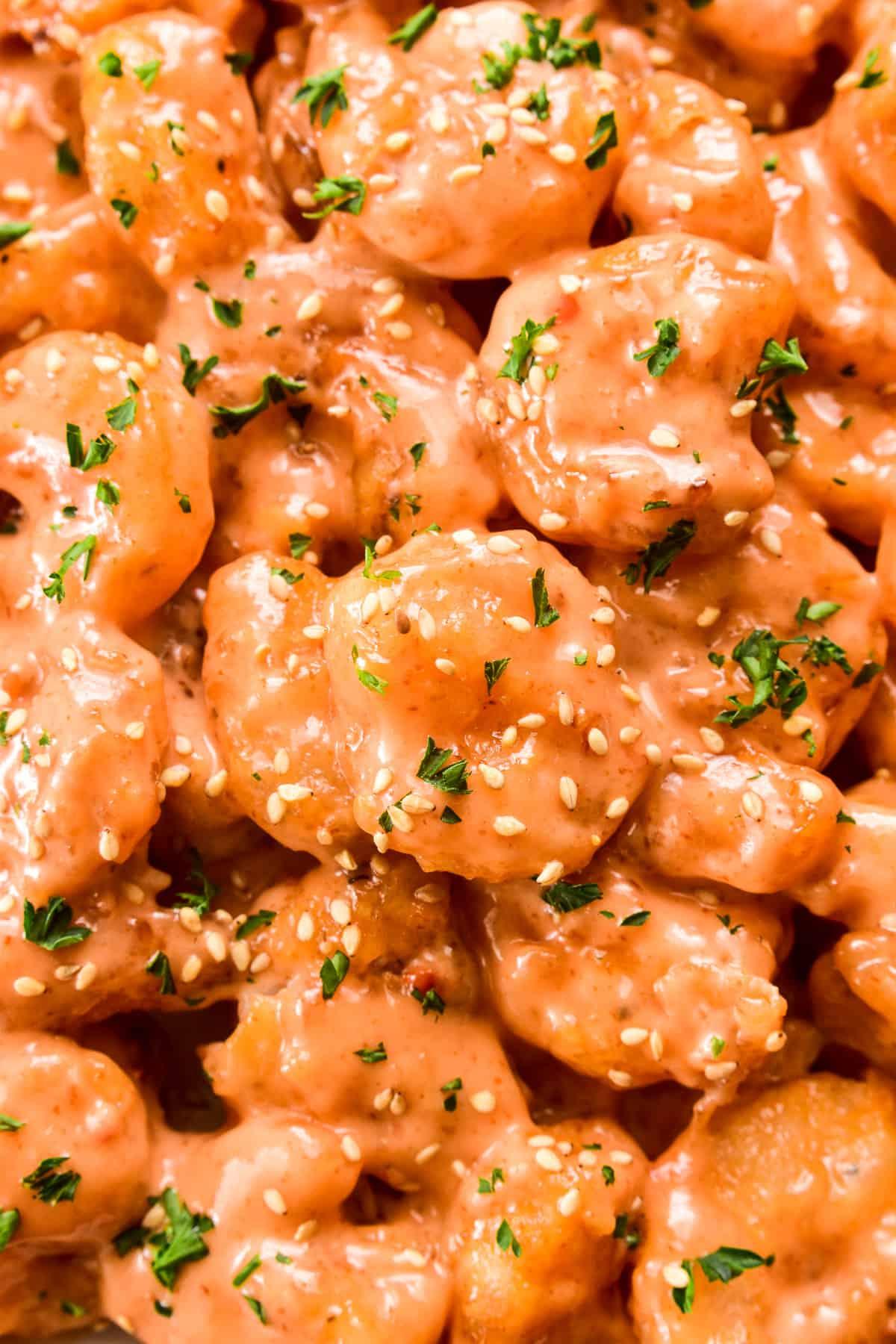Close up shot of Bang Bang Shrimp