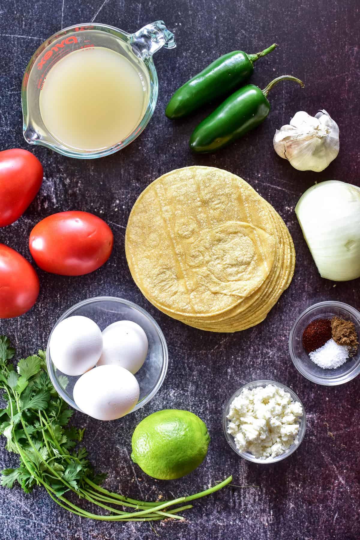 Chilaquiles ingredients on a dark background