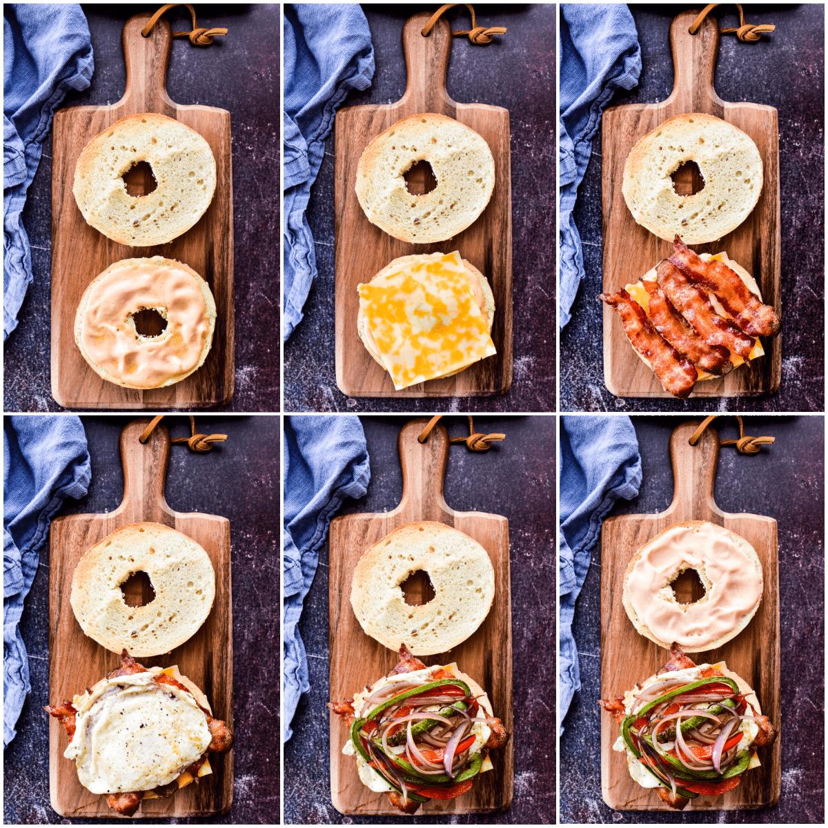 Process shots of Breakfast Sandwich assembly
