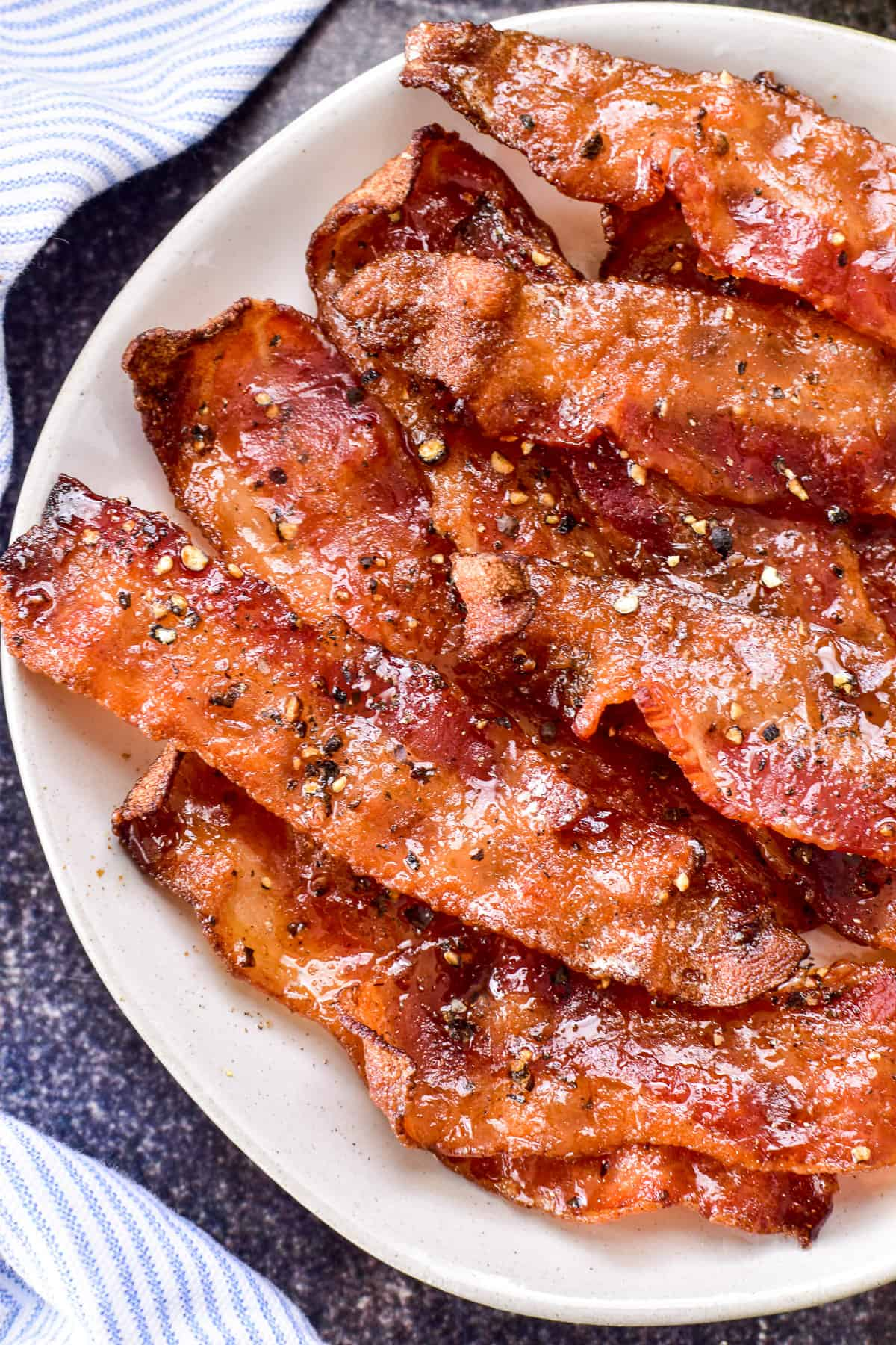 Candied Bacon on a white plate