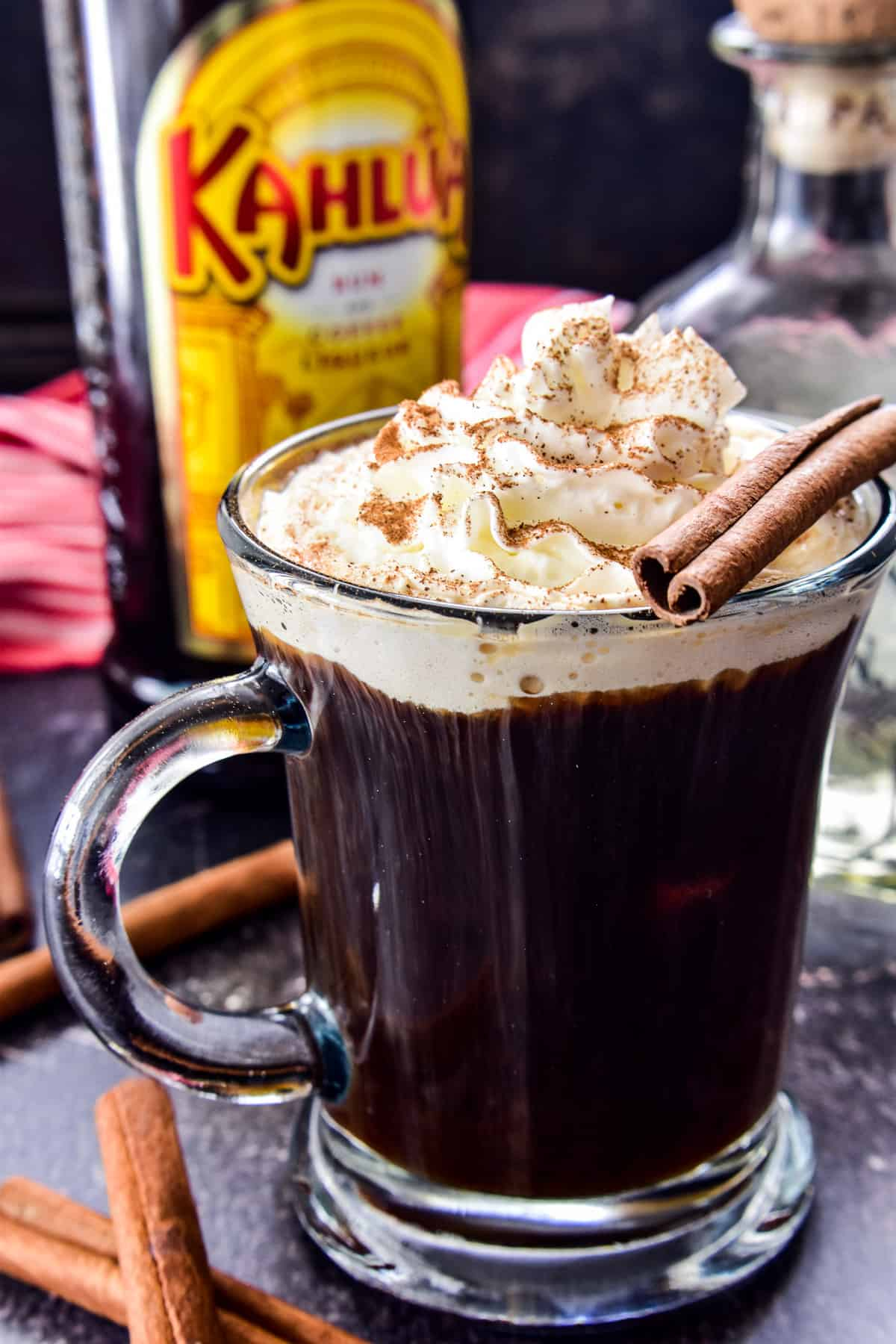 Mexican Coffee Cocktail with whipped cream and cinnamon
