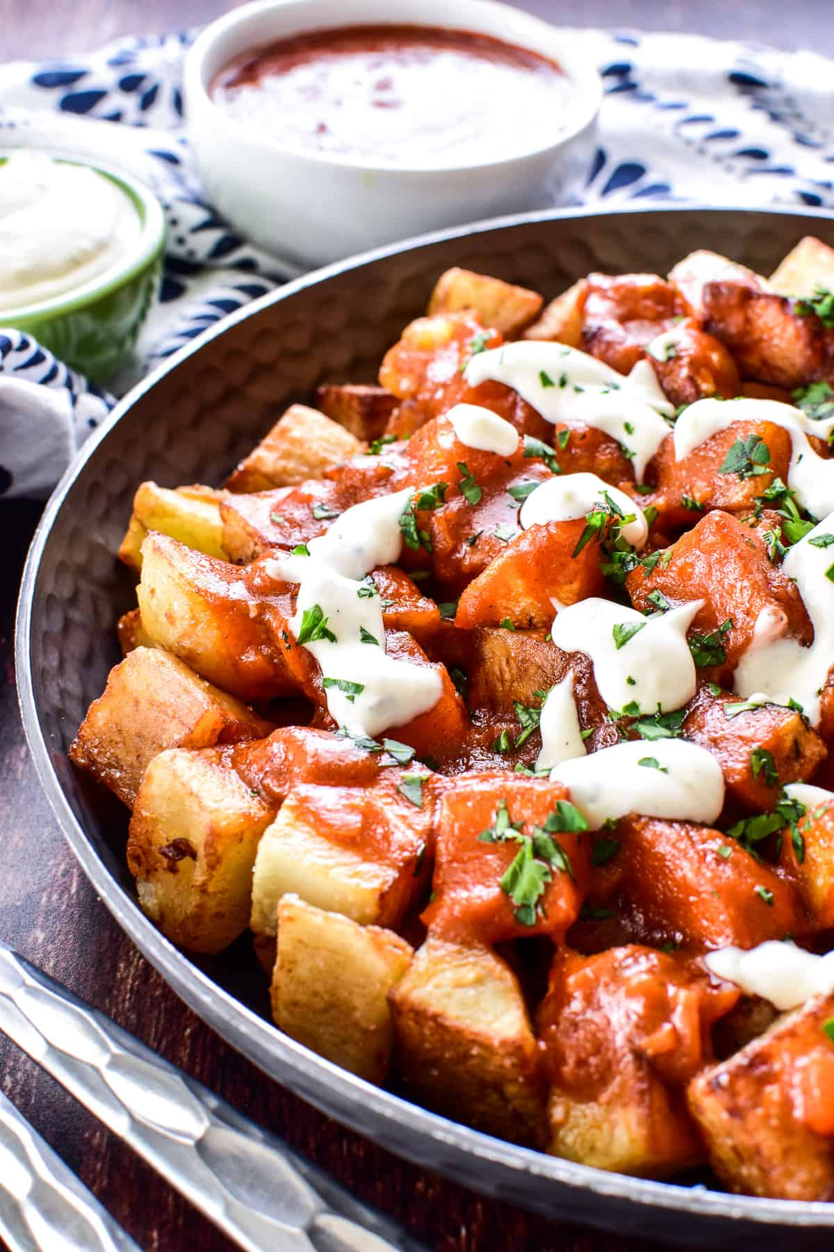 Patatas Bravas in a serving dish