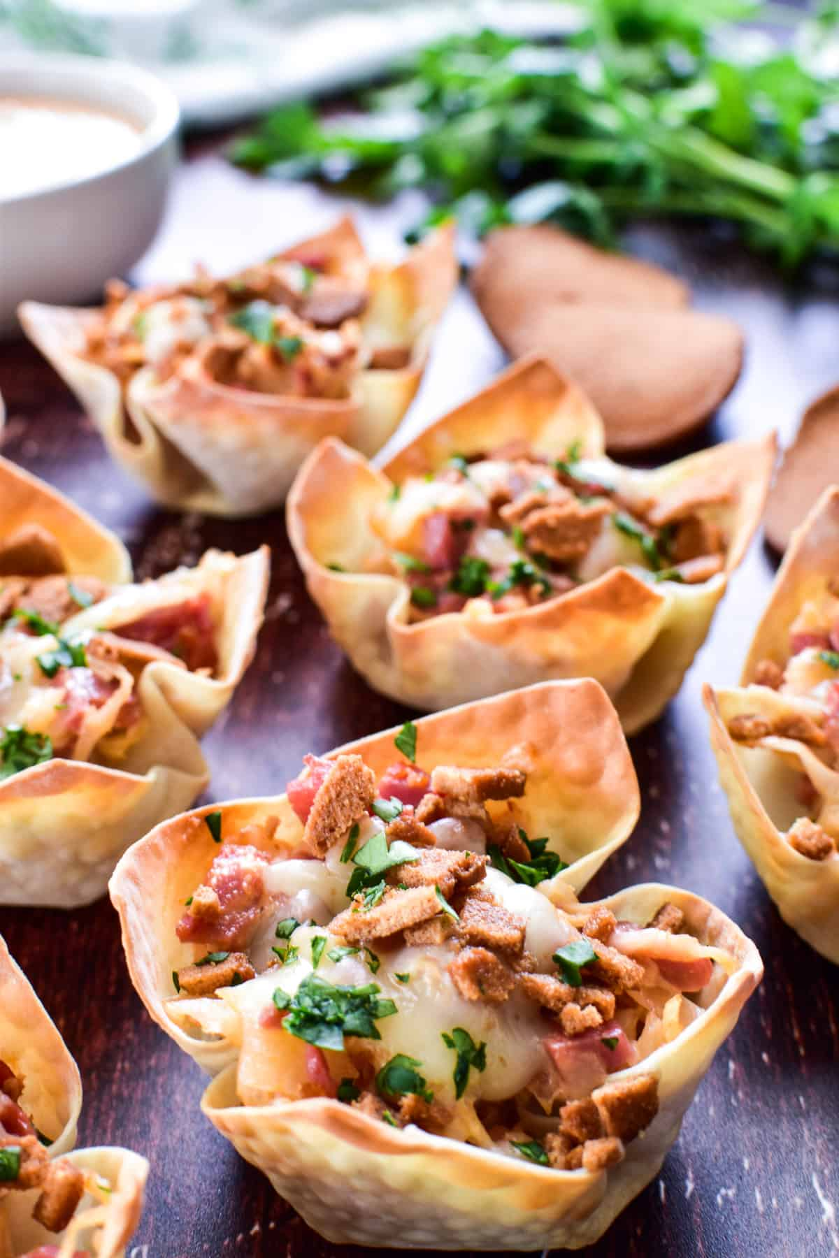 Reuben Wonton Cups with fresh parsley