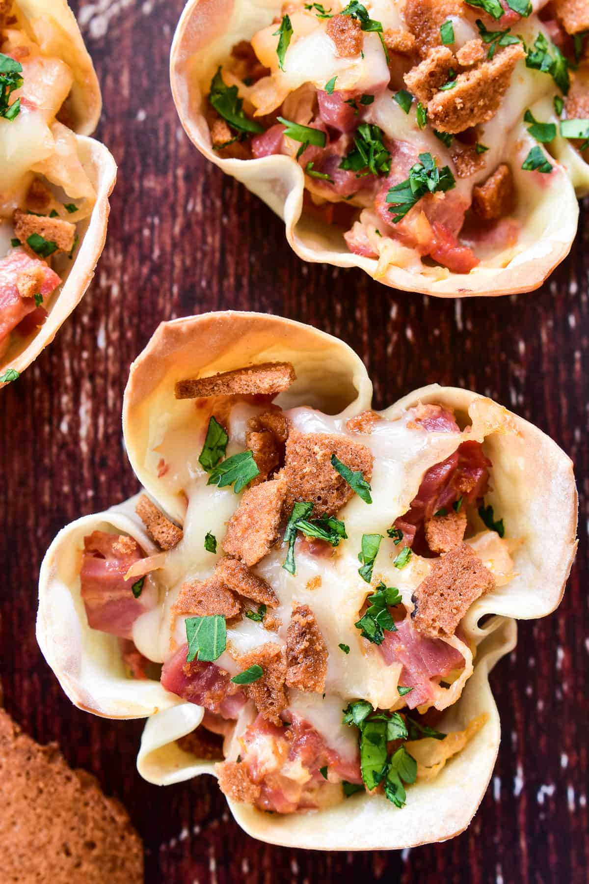 Overhead close-up shot of Reuben Wonton Cups
